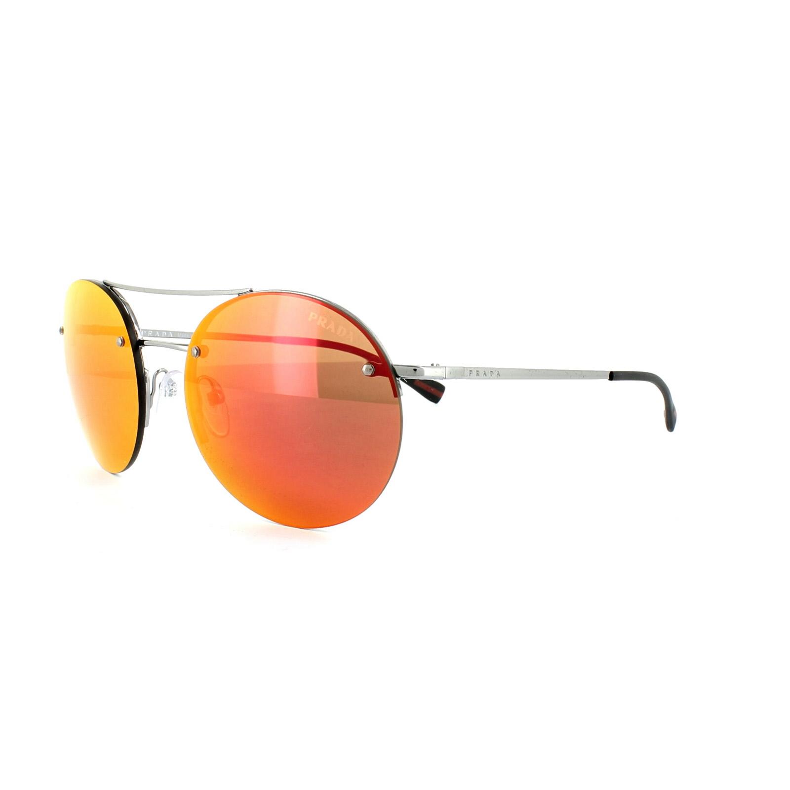 4e9693f311fa Sentinel Prada Sport Sunglasses 54RS 5AV5M0 Gunmetal Grey Orange Mirror