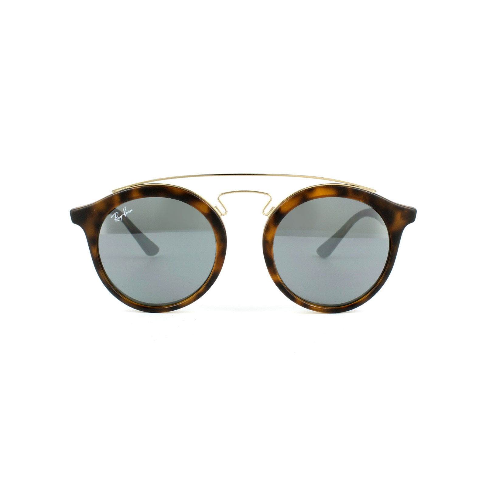 Double High Brown Round Sunglasses in Matte Havana Grey Silver Mirror RB4256 60926G 46 Ray-Ban t4bkUik42