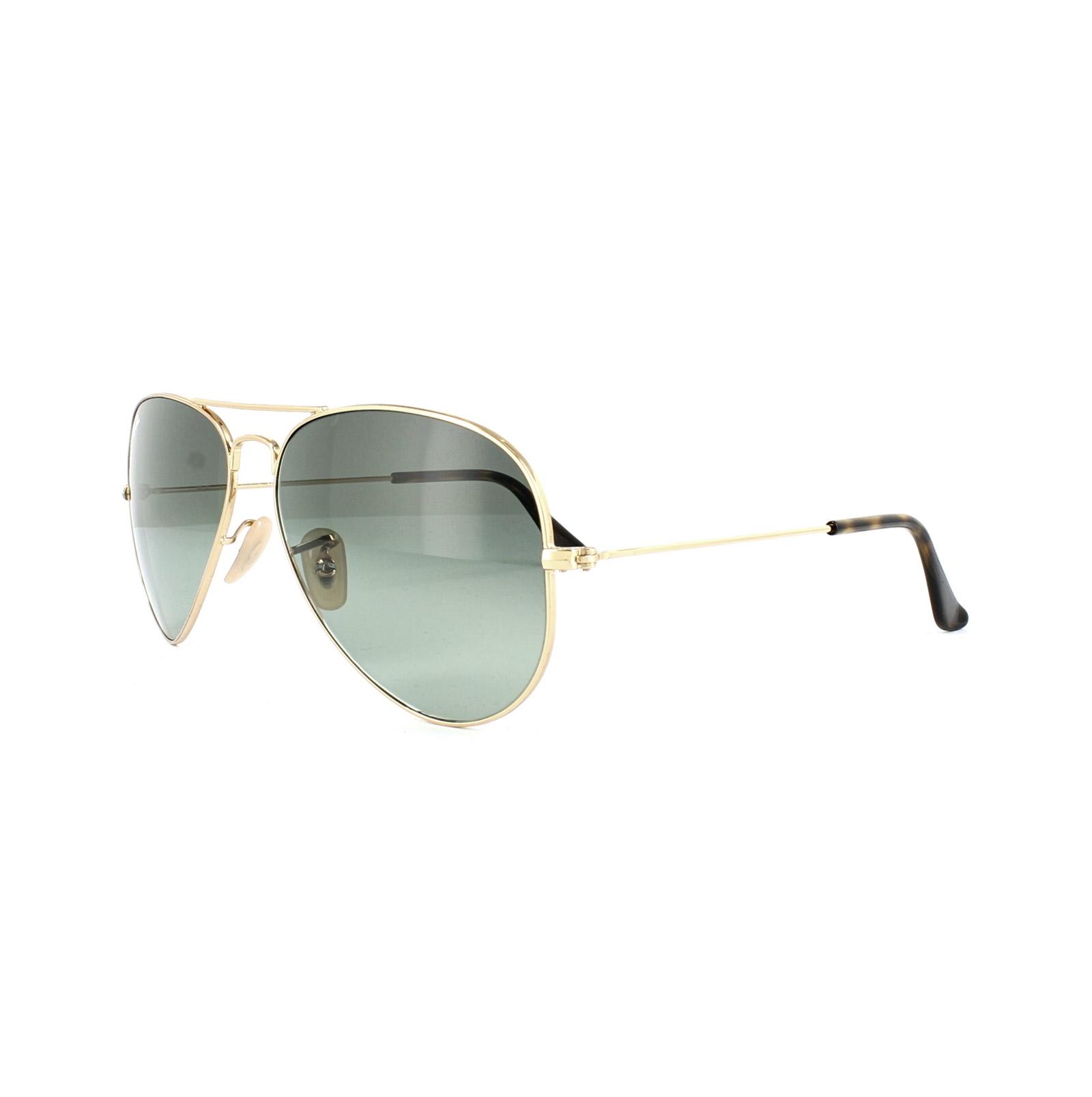 Ray-Ban Sonnenbrille Aviator 3025 181/71 Gold & Havanna Grau Verlauf ...