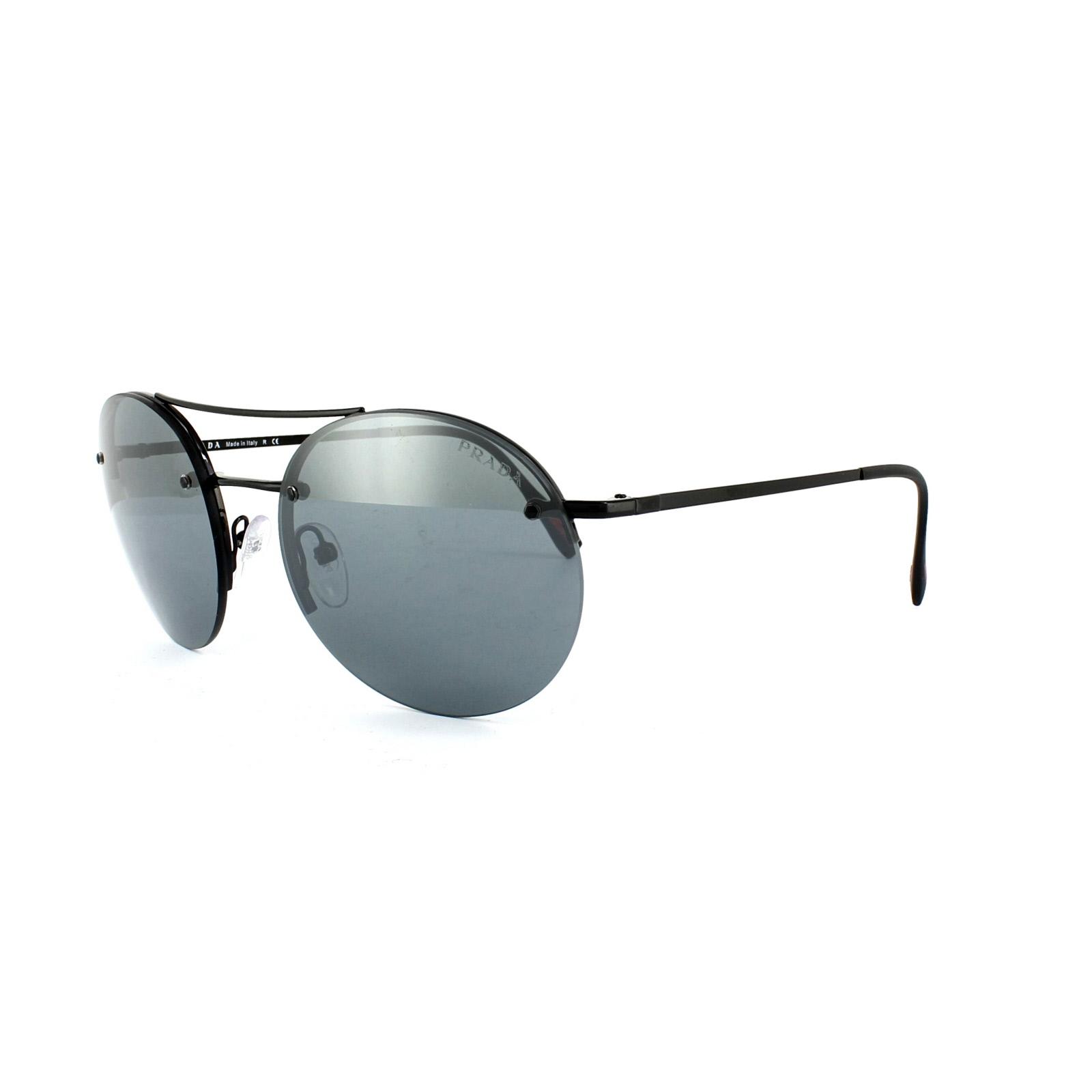 f64ae439f90e Sentinel Prada Sport Sunglasses 54RS 7AX5L0 Black Light Grey Black Mirror
