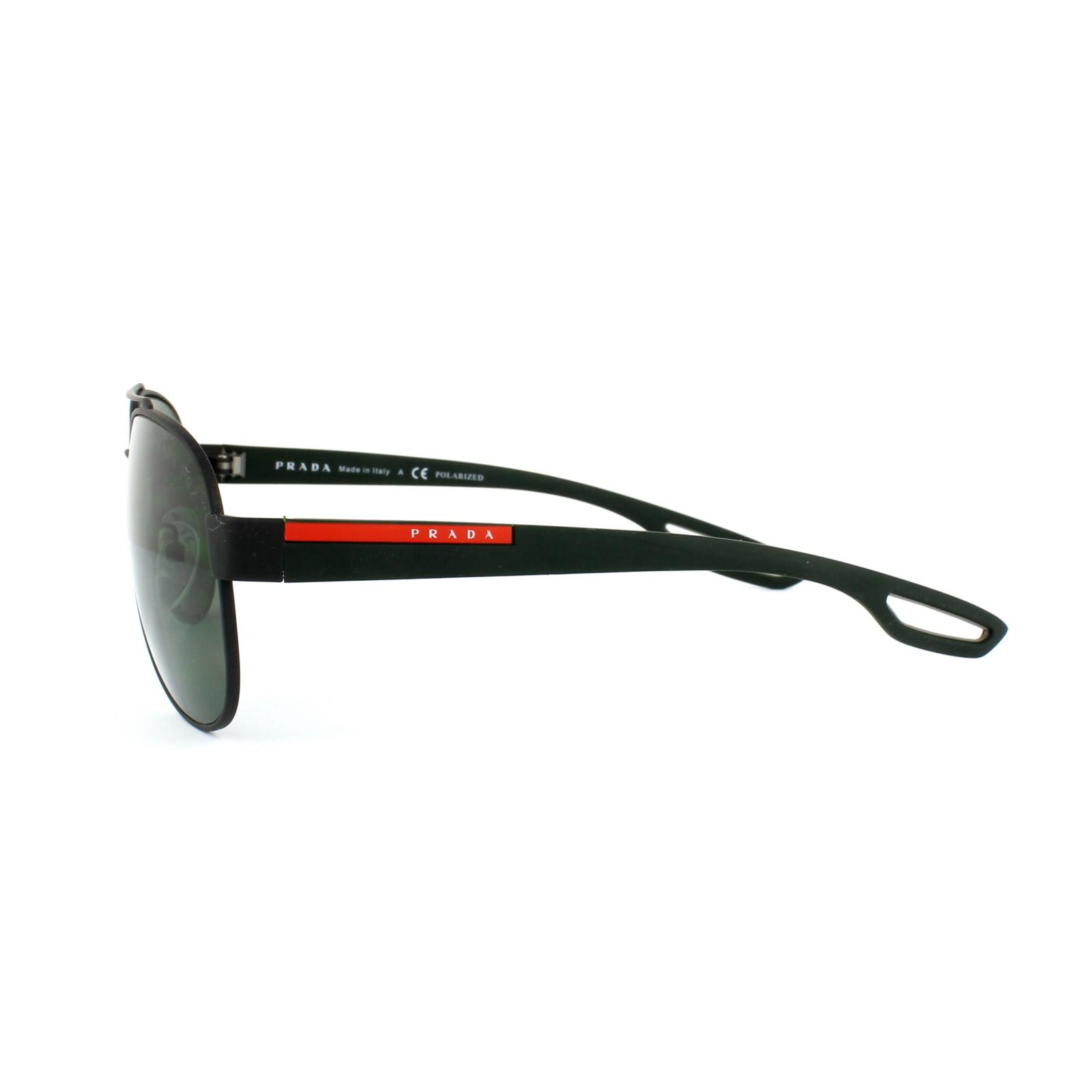 prada sport sonnenbrille 55qs dg05x1 schwarz gummi grau gr n polarisiert ebay. Black Bedroom Furniture Sets. Home Design Ideas