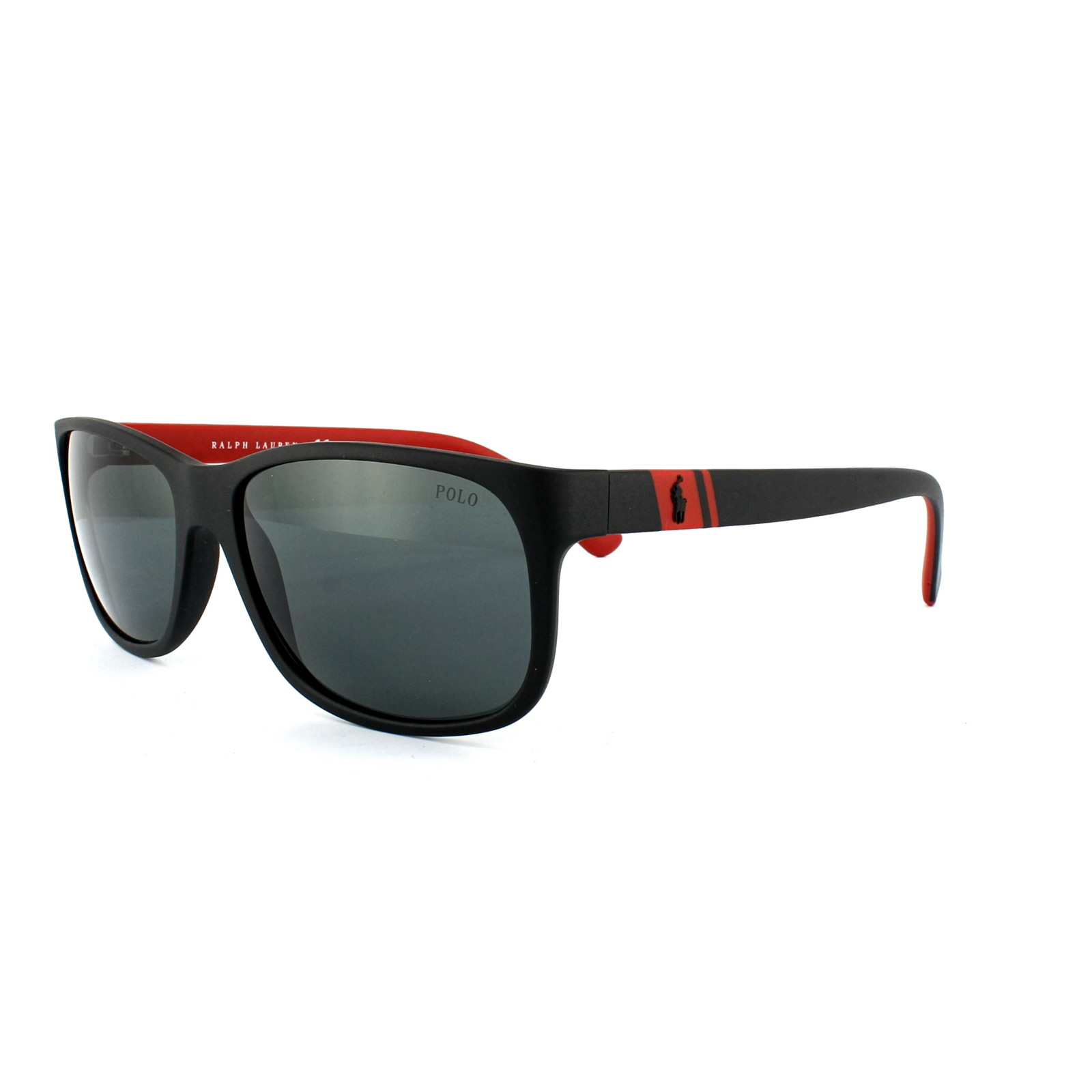 4a407c7fa974 Sentinel Polo Ralph Lauren Sunglasses 4109 524787 Matt Black Red Grey