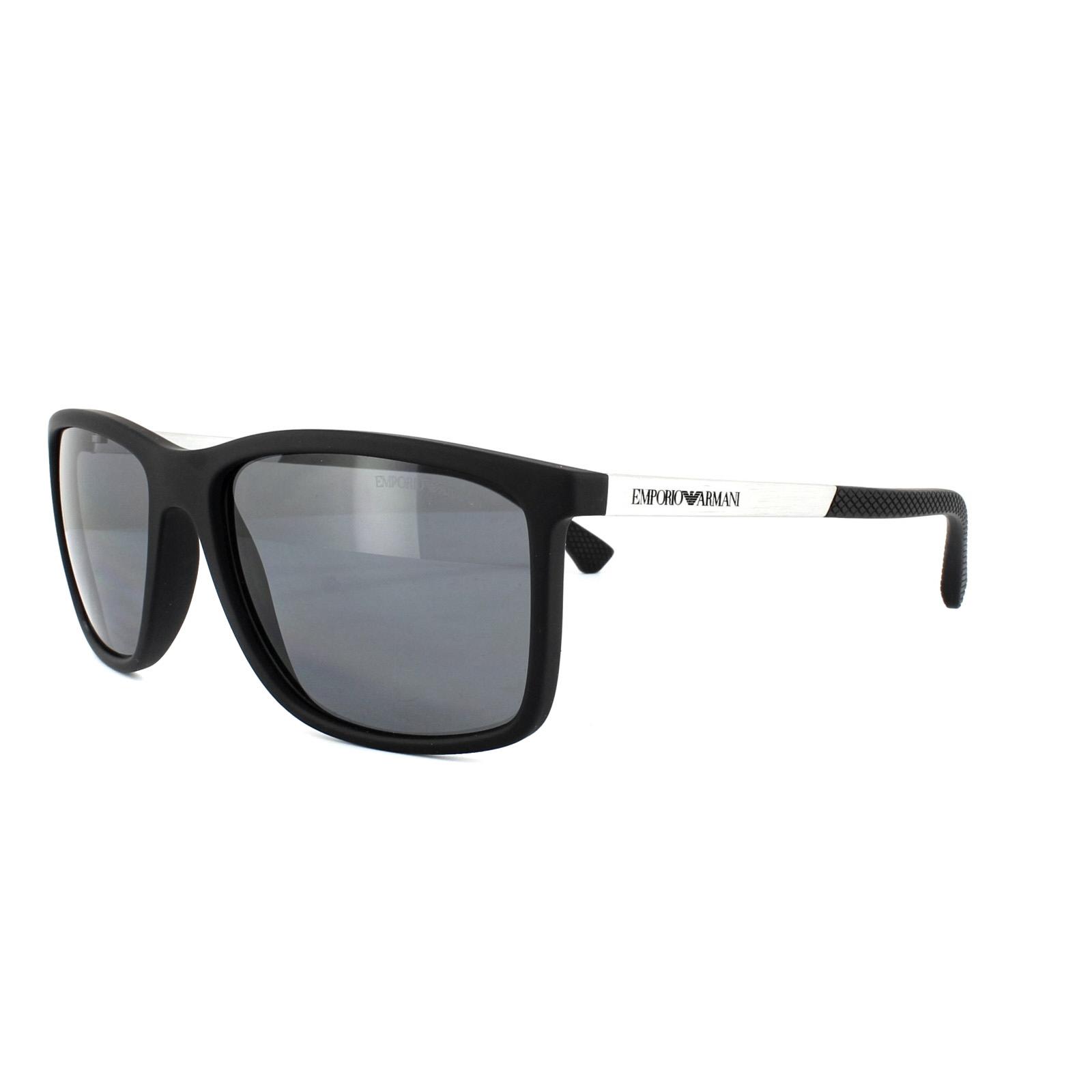 50ef1a5a81a Sentinel Emporio Armani Sunglasses 4058 5063 81 Black Rubber Grey Polarized