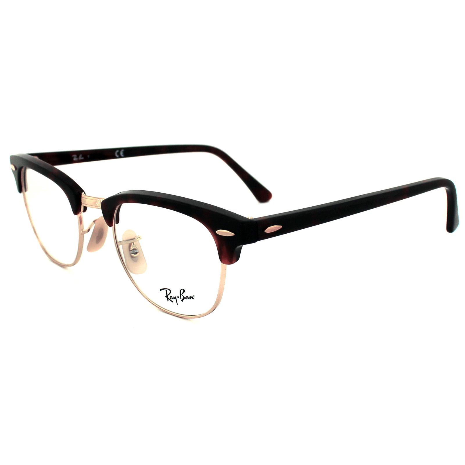 e90a5f9e067 Sentinel Ray-Ban Glasses Frames 5154 Clubmaster 2372 Red Havana 51mm