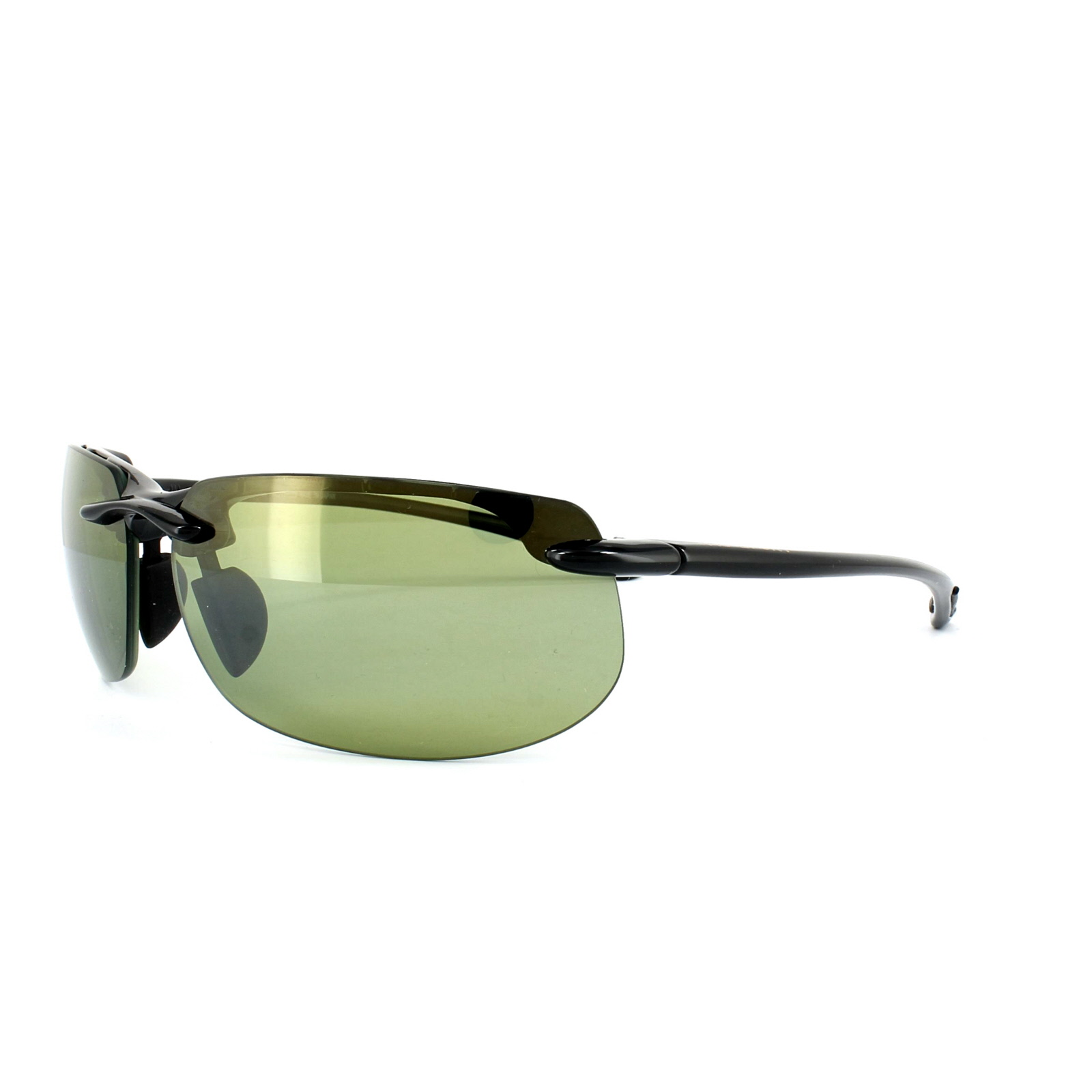 5396c1239b9c Details about Maui Jim Sunglasses Banyans HT412-02 Gloss Black Maui HT  Green Polarized
