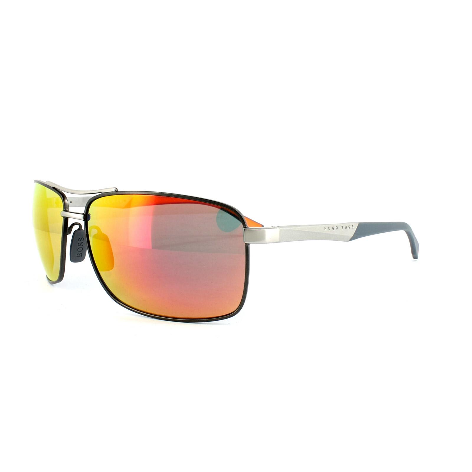 d5f5fb514d Sentinel Hugo Boss Sunglasses 0697 P S IIG 7H Ruthenium Orange Red Mirror  Polarized