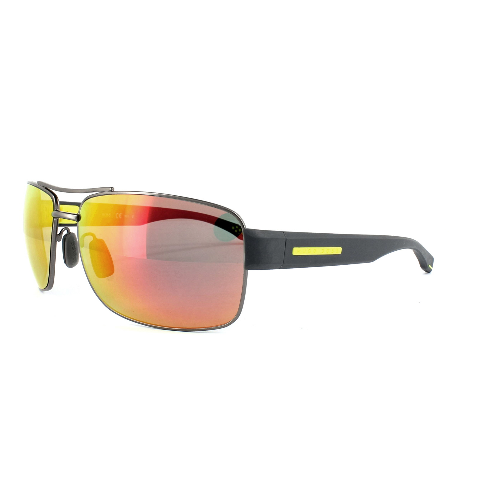Hugo Boss Boss 0801//S YQD7H Grey Yellow Red Multi Mirror Polarised Sunglasses