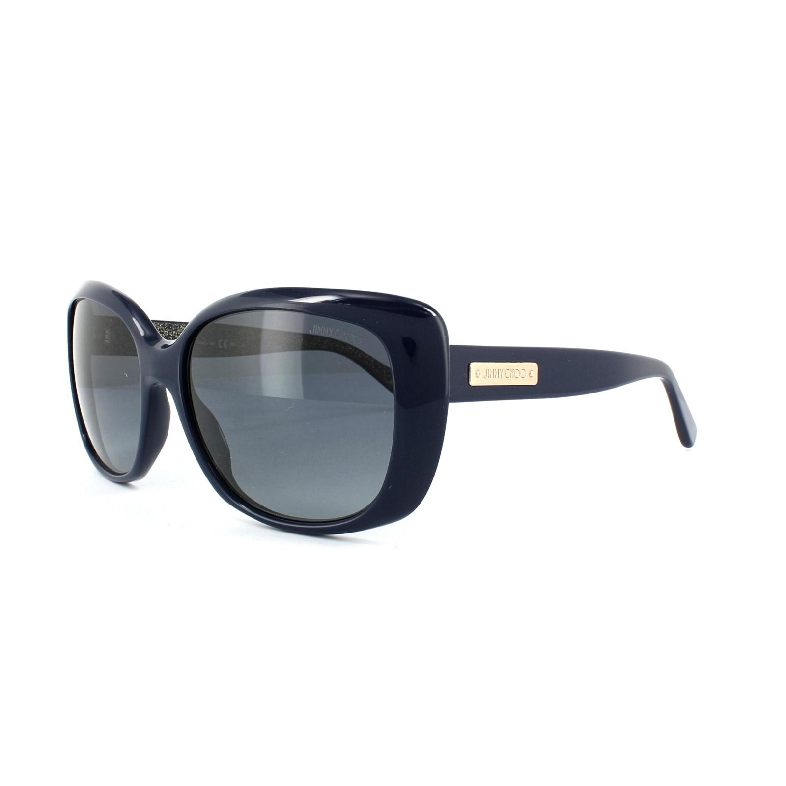 bed7508b1529 Sentinel Jimmy Choo Sunglasses Kalia EN9 HD Blue Glitter Gold Grey Gradient
