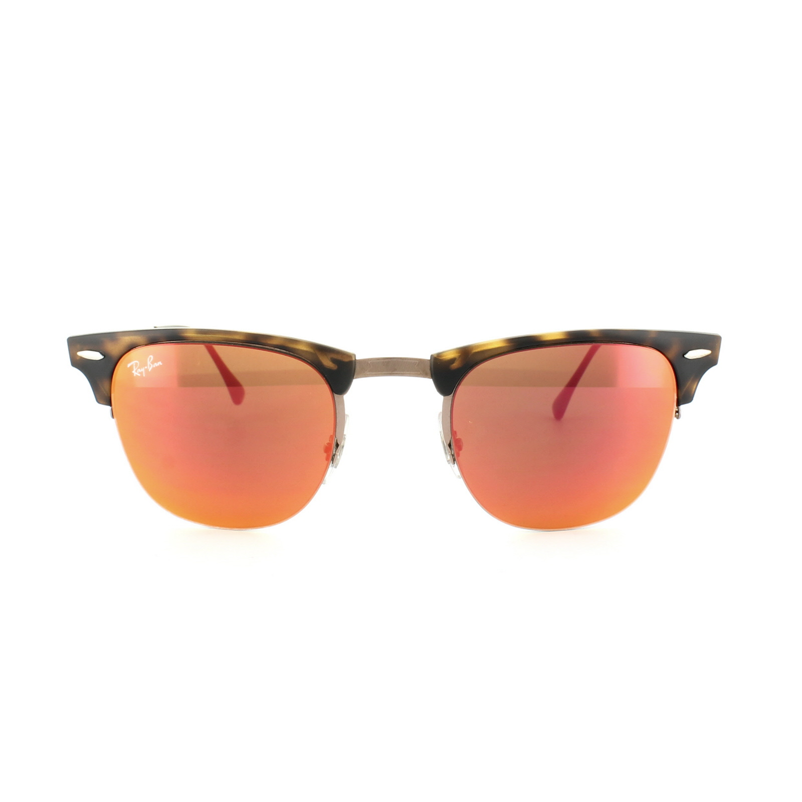 82755c7ee8 Sentinel Ray-Ban Sunglasses Clubmaster Light Ray 8056 175/6Q Havana Brown  Red Mirror