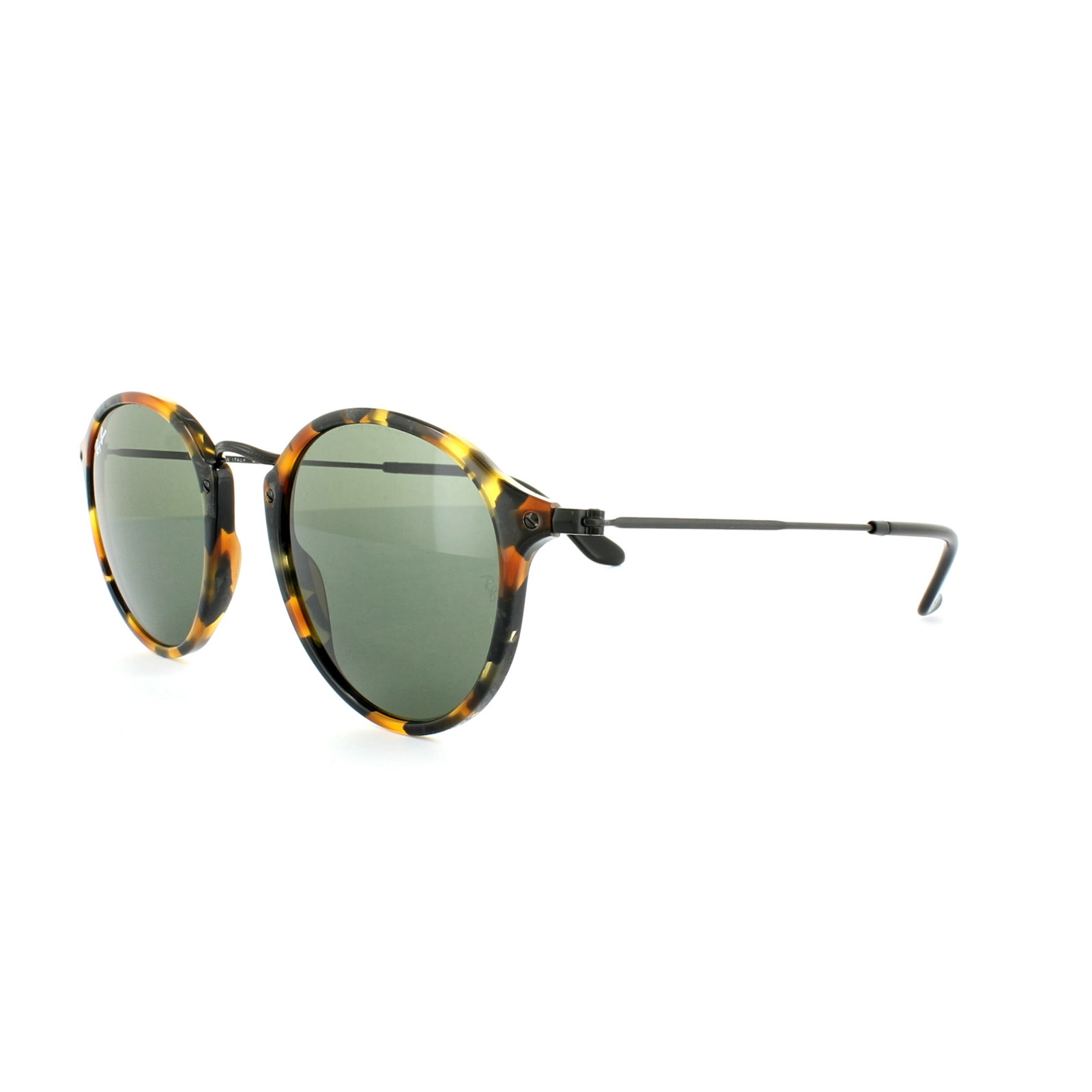 Details about Ray-Ban Sunglasses Round Fleck 2447 1157 Green Spotted Black  Havana 49mm eb83d8efd3