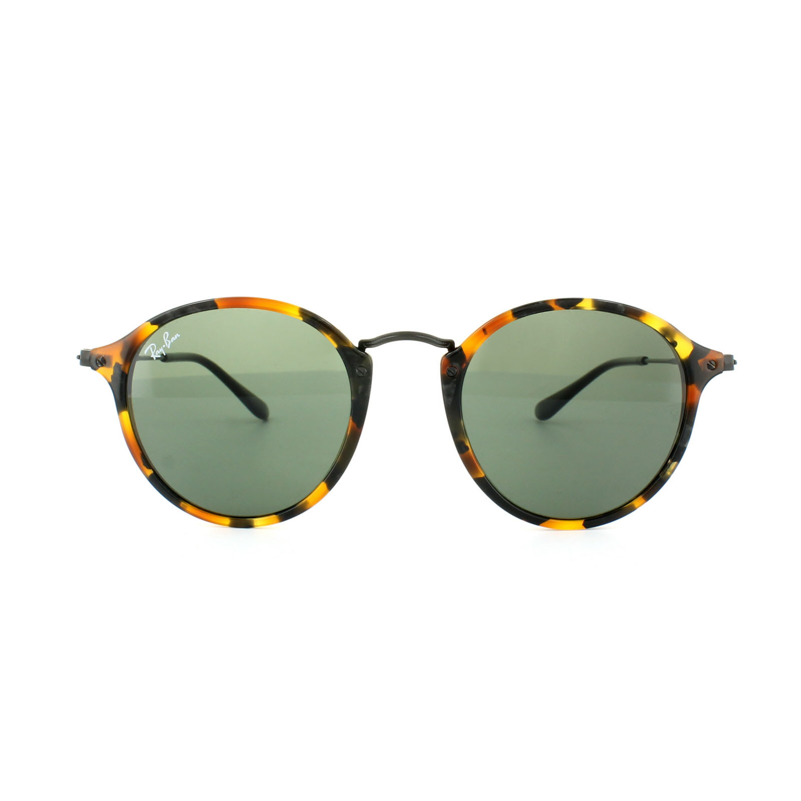 3721dbb72a Sentinel Ray-Ban Sunglasses Round Fleck 2447 1157 Green Spotted Black  Havana 49mm