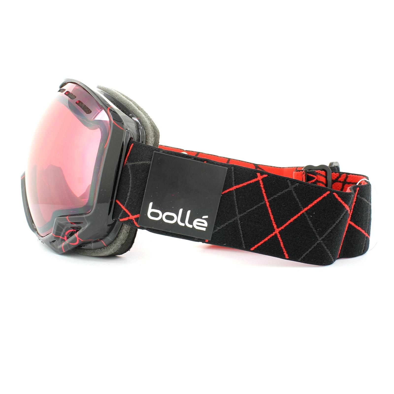 Sentinel Bolle Ski Snow Goggles Emperor OTG 21114 Shiny Black Red Loops Vermilion  Gun 01d31ebb174