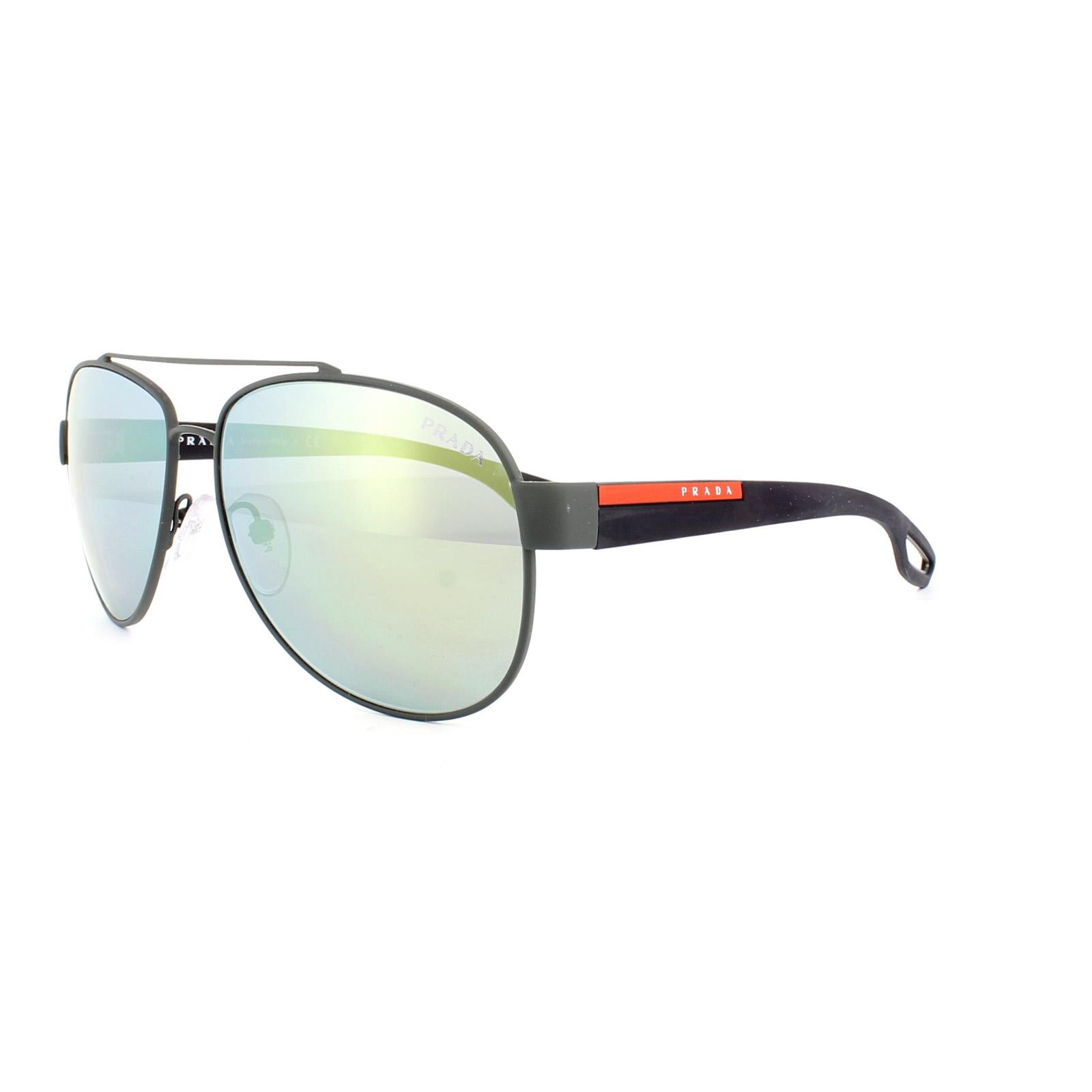 5f0c4e245623 Sentinel Prada Sport Sunglasses 55QS TIG4J2 Grey Rubber Emerald Iridium