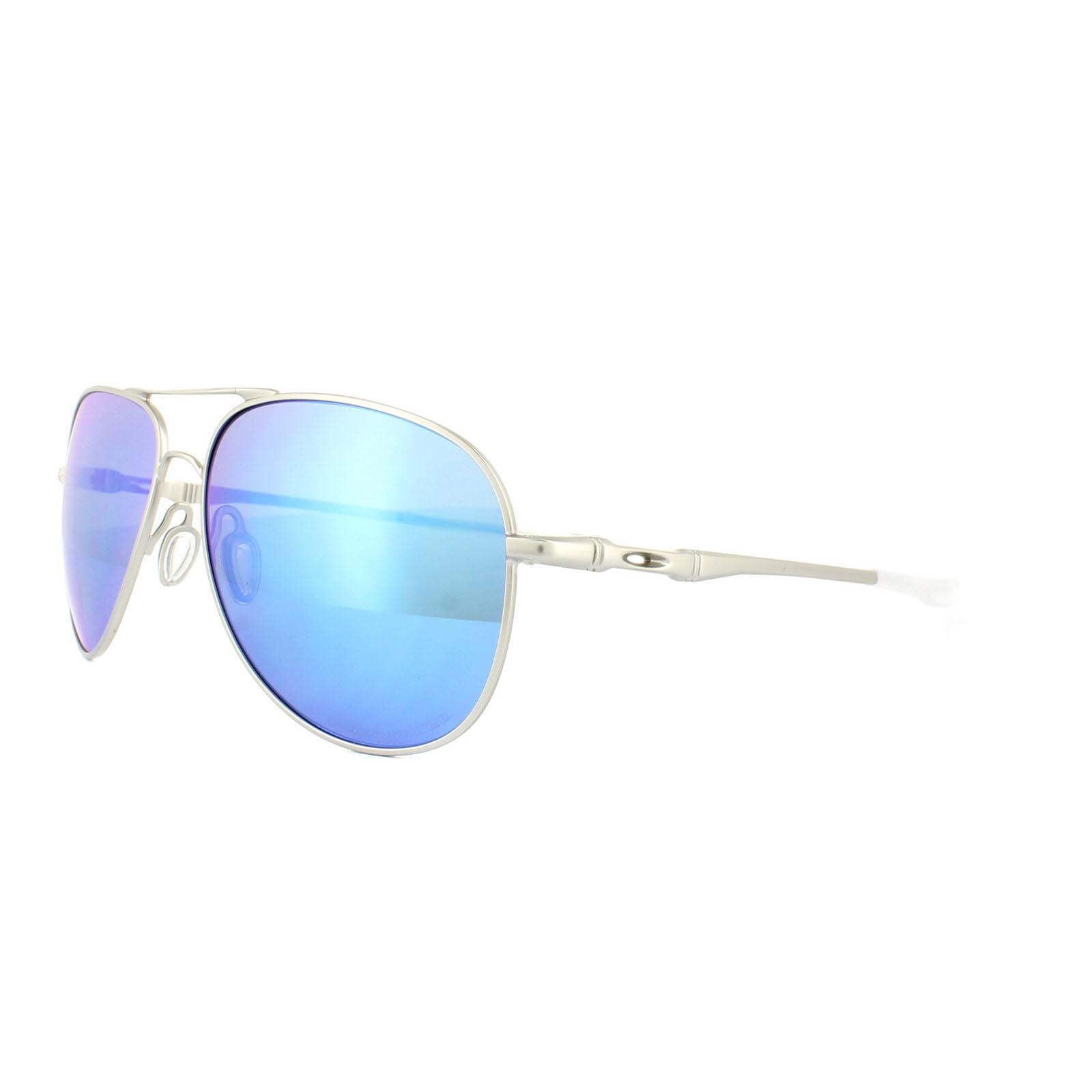 eea3b10b69 Sentinel Oakley Sunglasses Elmont M OO4119-07 Satin Chrome Sapphire Iridium  Polarized