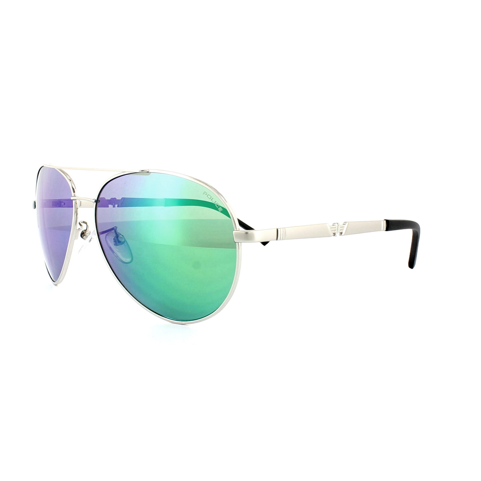 f91d542ca2 Details about Police Sunglasses Legend 2 8746 589G Silver Emerald Mirror