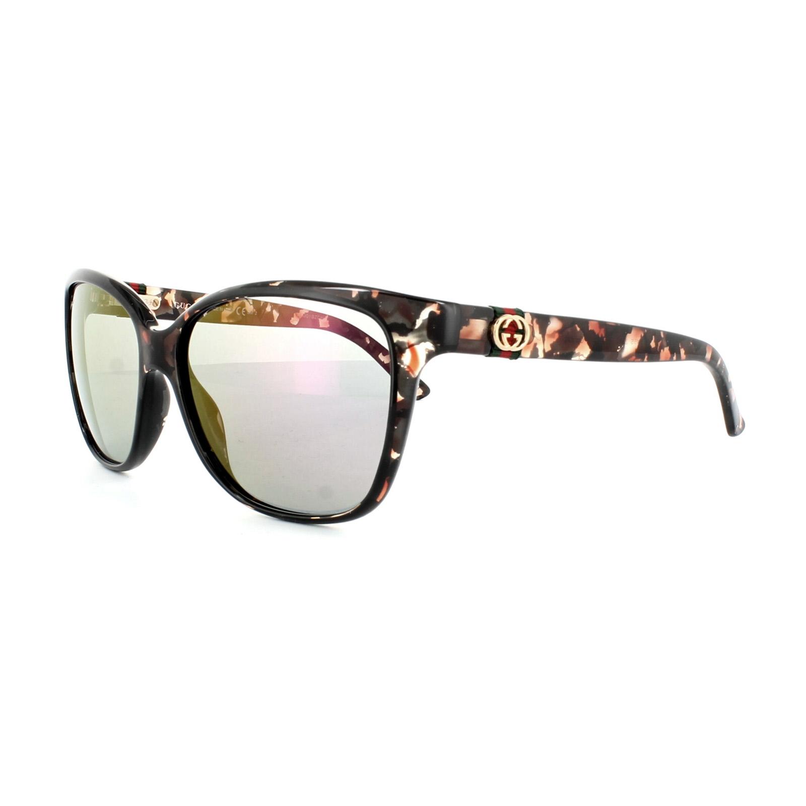 Gucci Gafas de sol 3645 2z6 E2 De Lunares Negro Marrón Havana ORO ...
