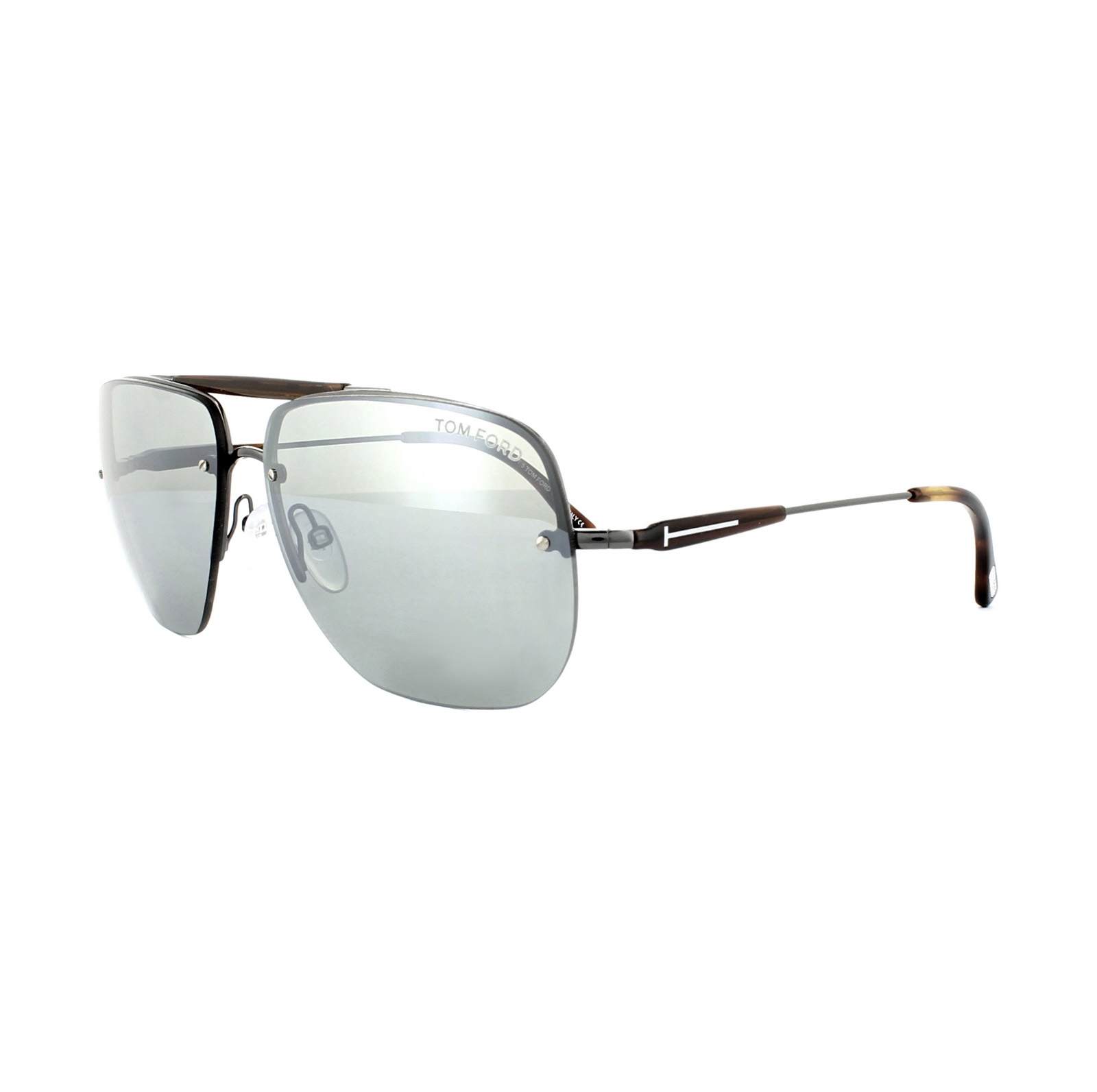 Tom Ford Mens Nils Semi Rimless Aviator Sunglasses in Matte Gunmetal Green Mirror FT0380 09Q 61