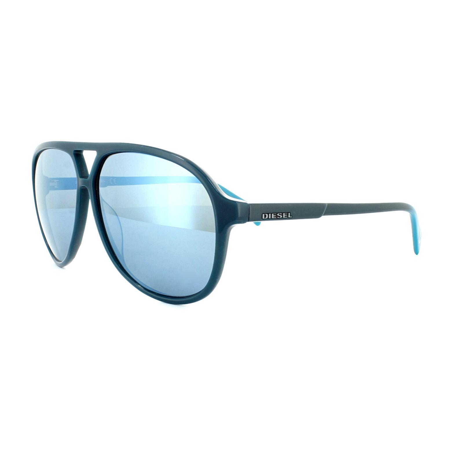 3ac914c5ff Diesel Sunglasses DL0156 90X Shiny Blue Blue Mirror 664689719716