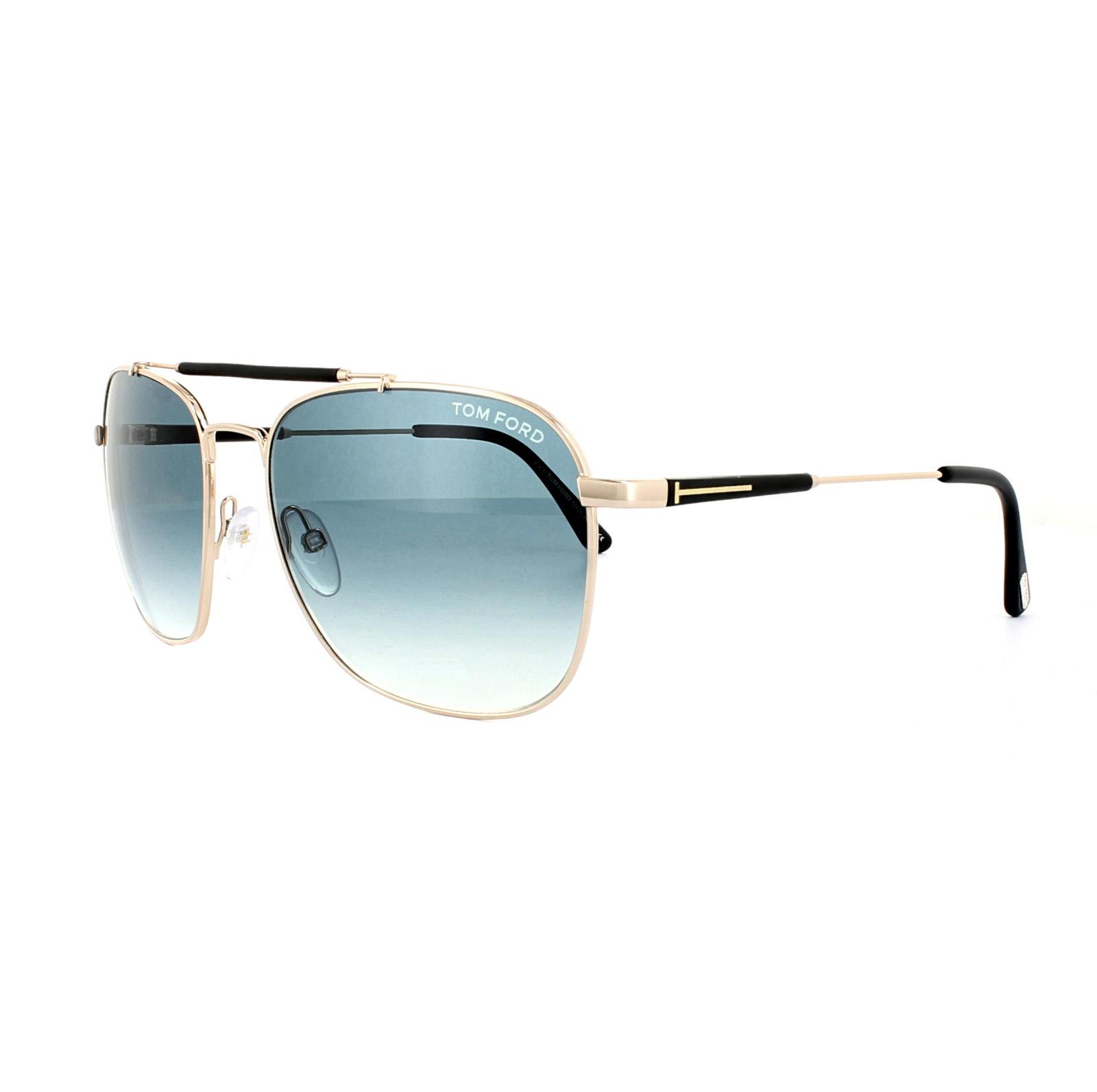 ea680a95c2f Sentinel Tom Ford Sunglasses FT0377 Edward 28W Polished Rose Gold Blue  Gradient
