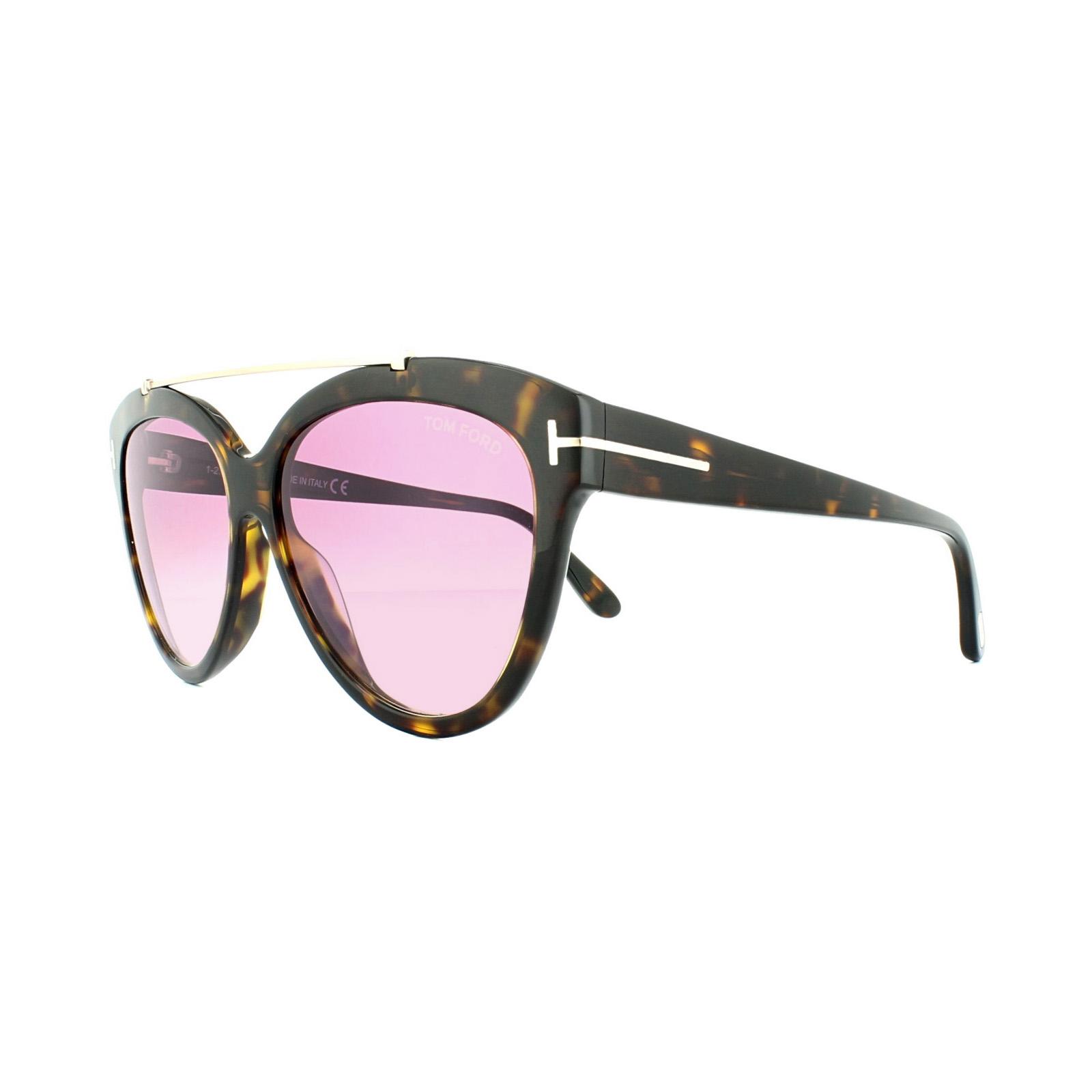 9af6a2b635a2 Details about Tom Ford Sunglasses 0518 Livia 52Z Dark Havana Gradient  Mirror Violet
