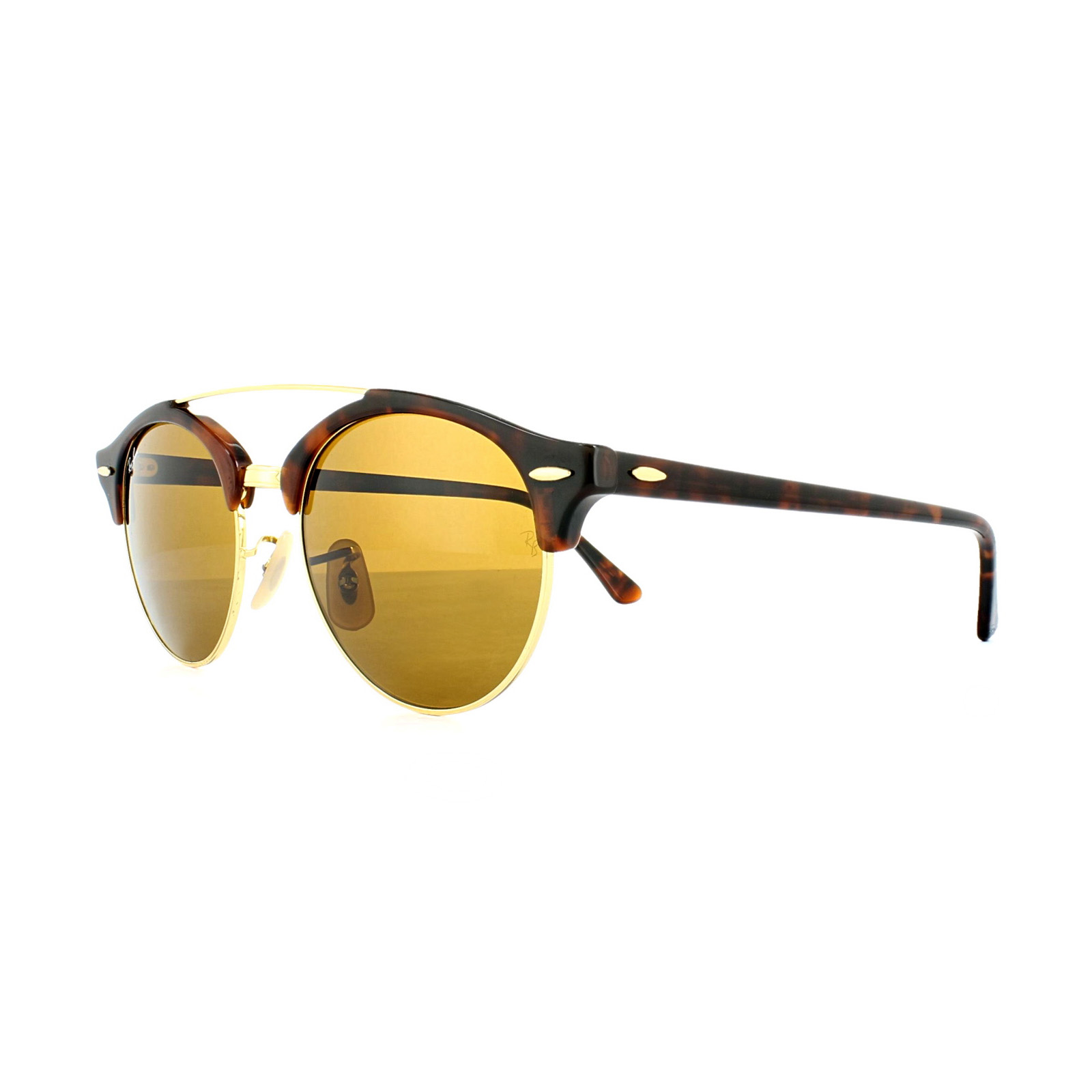 RAY BAN Sonnenbrille Clubround Double Bridge RB4346 51 braun tKDKhcx4aq