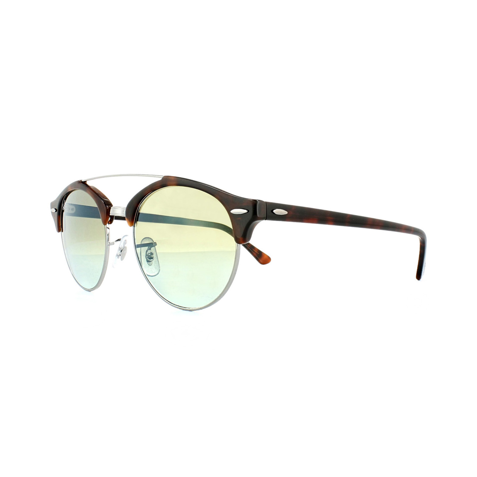 9f3ee86d7927a Sentinel Ray-Ban Sunglasses Clubround Double Bridge 4346 62519J Havana  Green Gradient