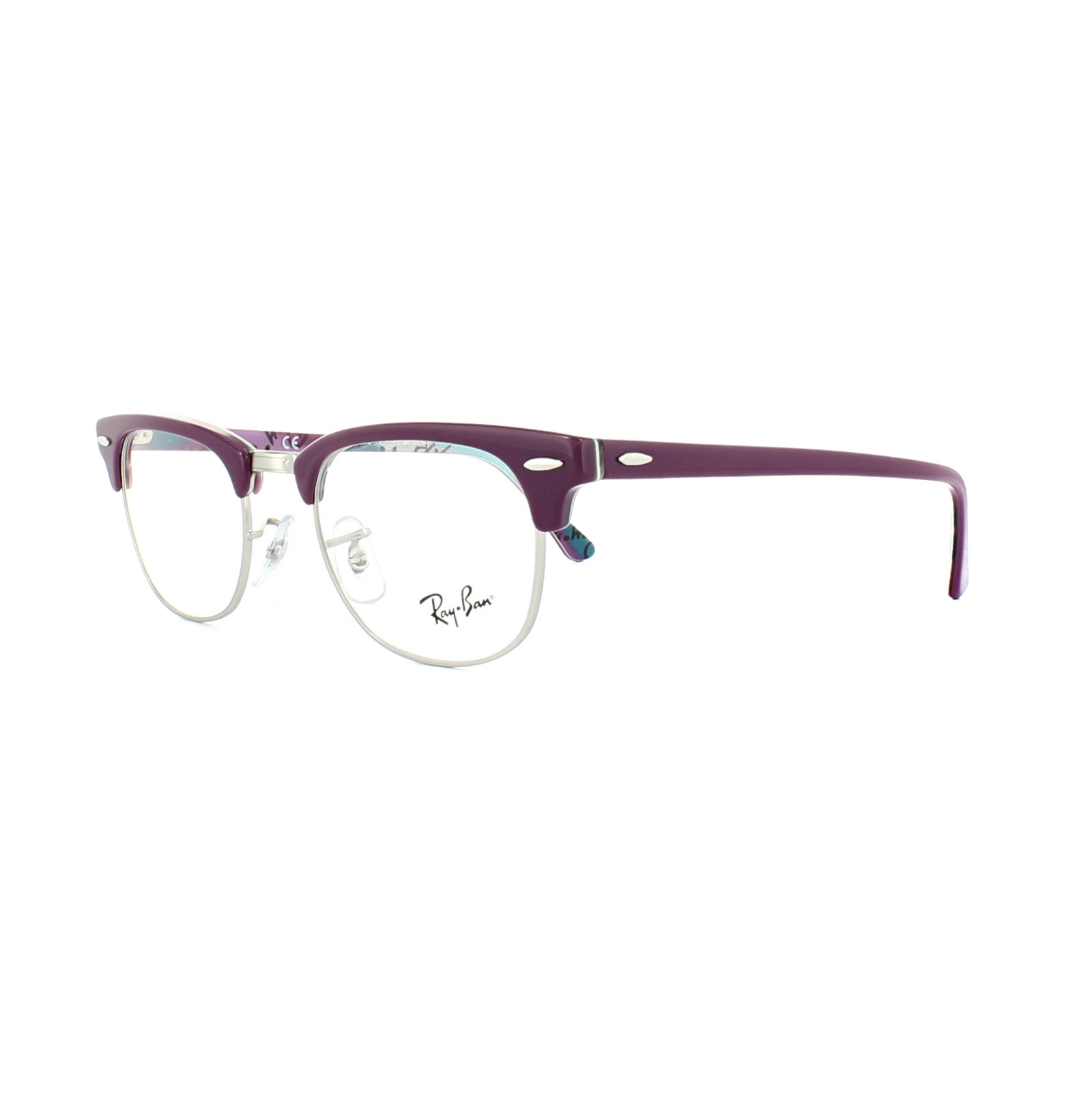 Ray-Ban Glasses Frames 5154 Clubmaster 5652 Violet Texture ...