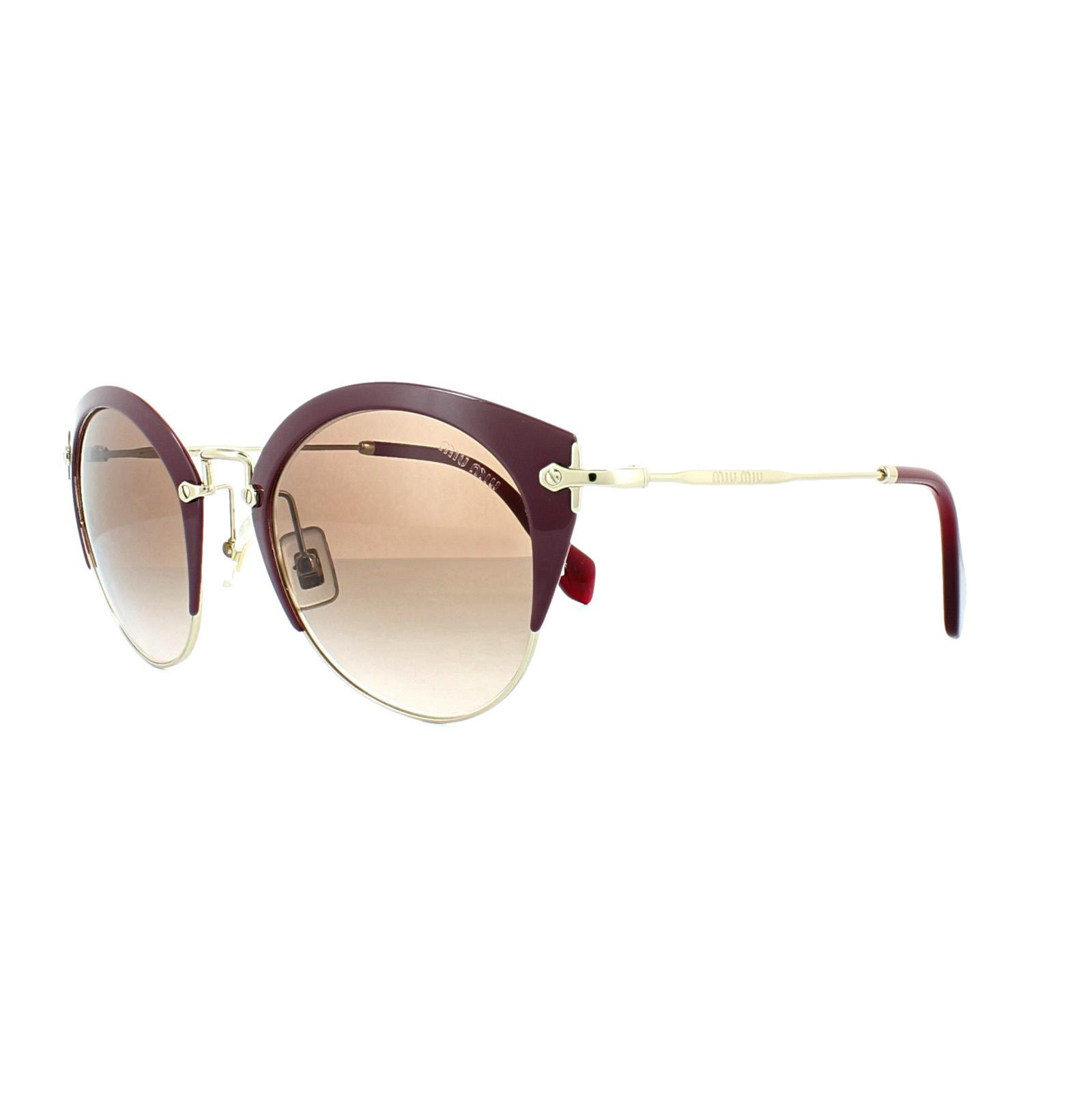 SENTINEL Miu Miu occhiali da sole 53RS UA50A6 amaranto pallido oro marrone  sfumato 273947ebd11