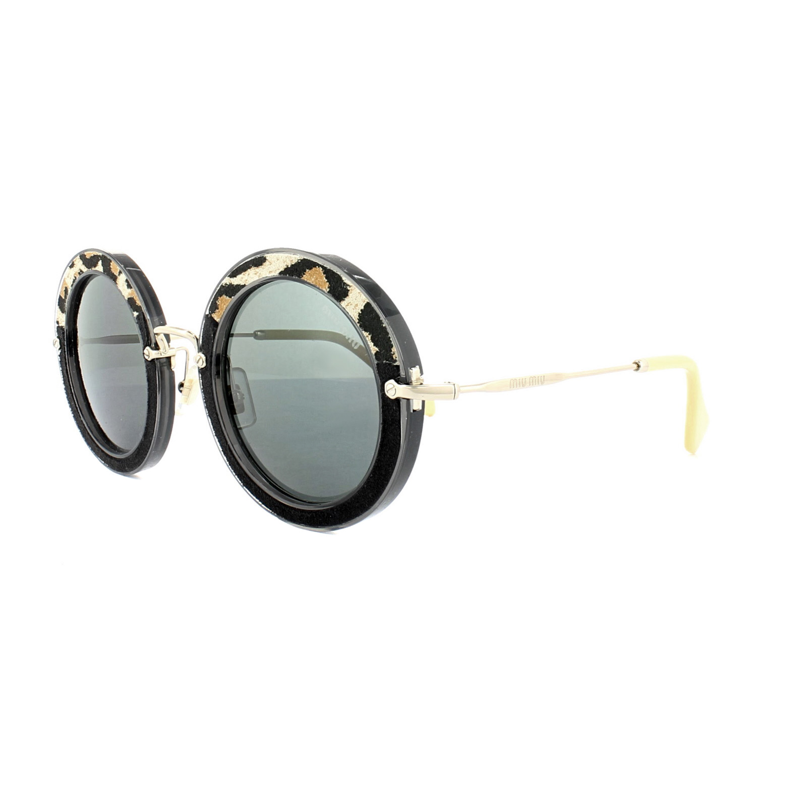 144ba8eb942 Miu Miu Sunglasses 08RS USC1A1 Black Animal Print Grey 8053672619577 ...