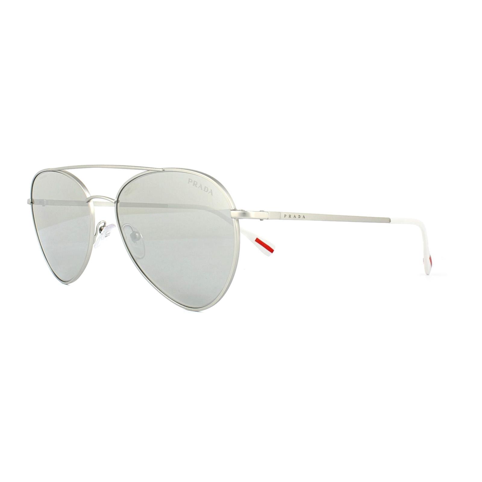 63e114dae6 Sentinel Prada Sport Sunglasses 50SS 1AP2B0 Matt Silver Grey Silver Mirror