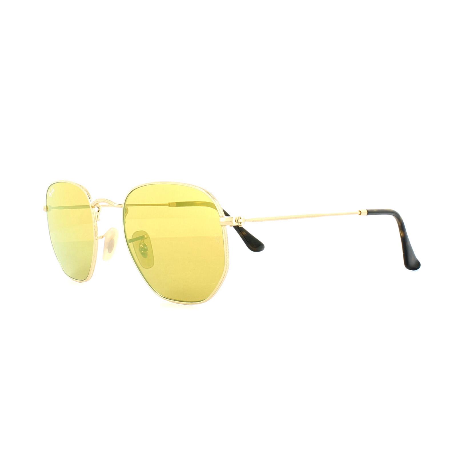 Sentinel Ray-Ban Sunglasses Hexagonal 3548N 001 93 Gold Yellow Mirror 9d4f80331e
