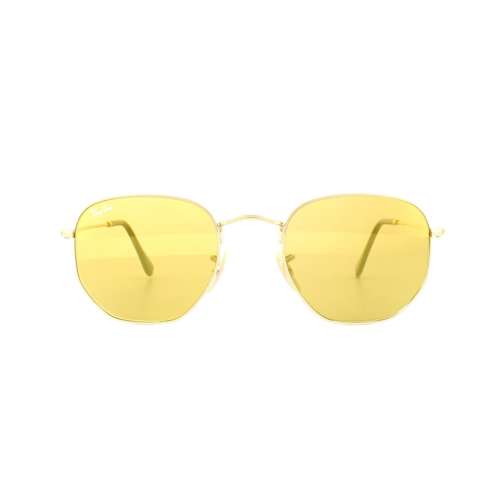 f209bf34c7 Sentinel Ray-Ban Sunglasses Hexagonal 3548N 001 93 Gold Yellow Mirror