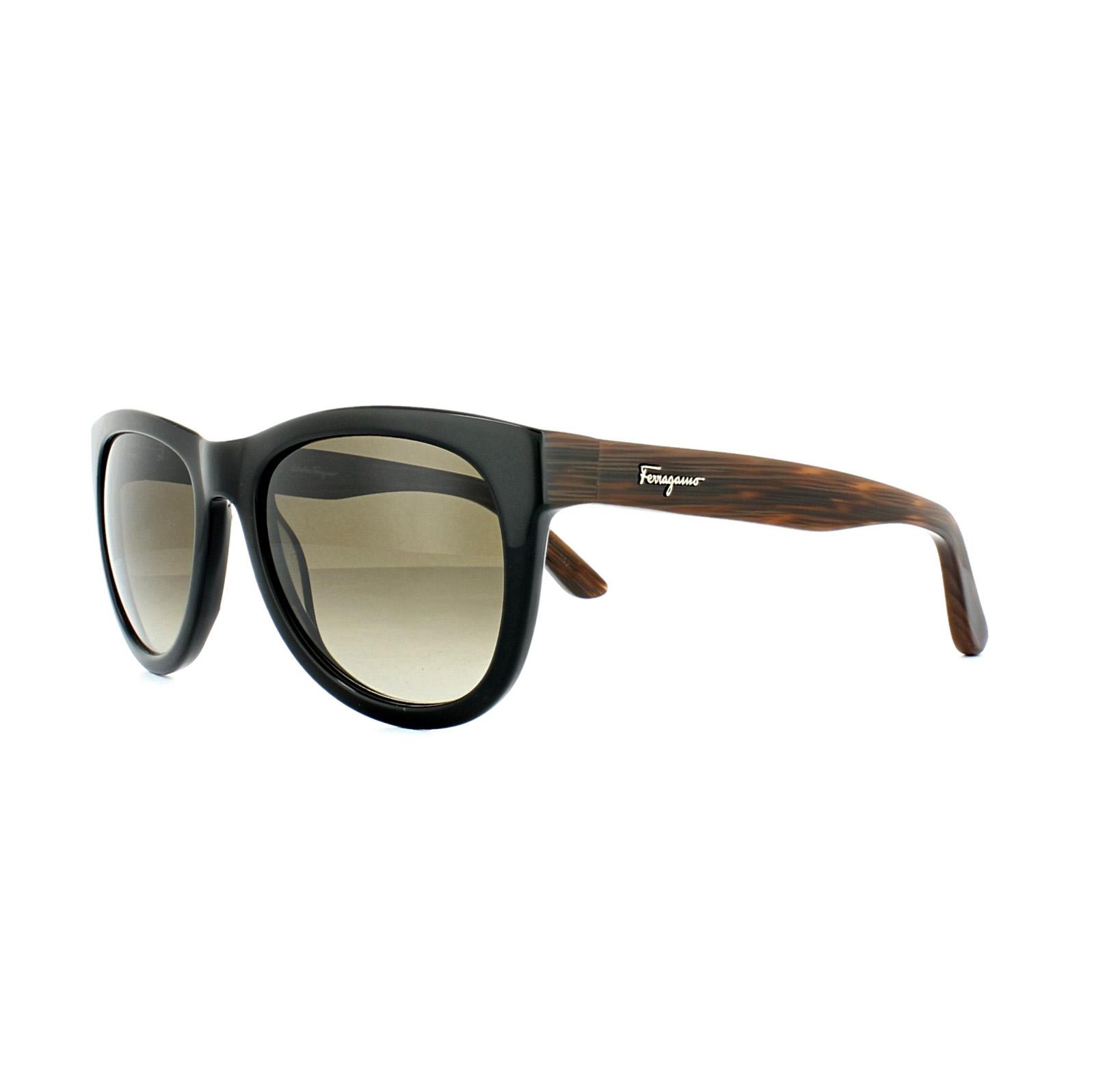 d37c9284d6 Sentinel Salvatore Ferragamo Sunglasses SF685S 001 Black   Brown Woodgrain  Grey Gradient