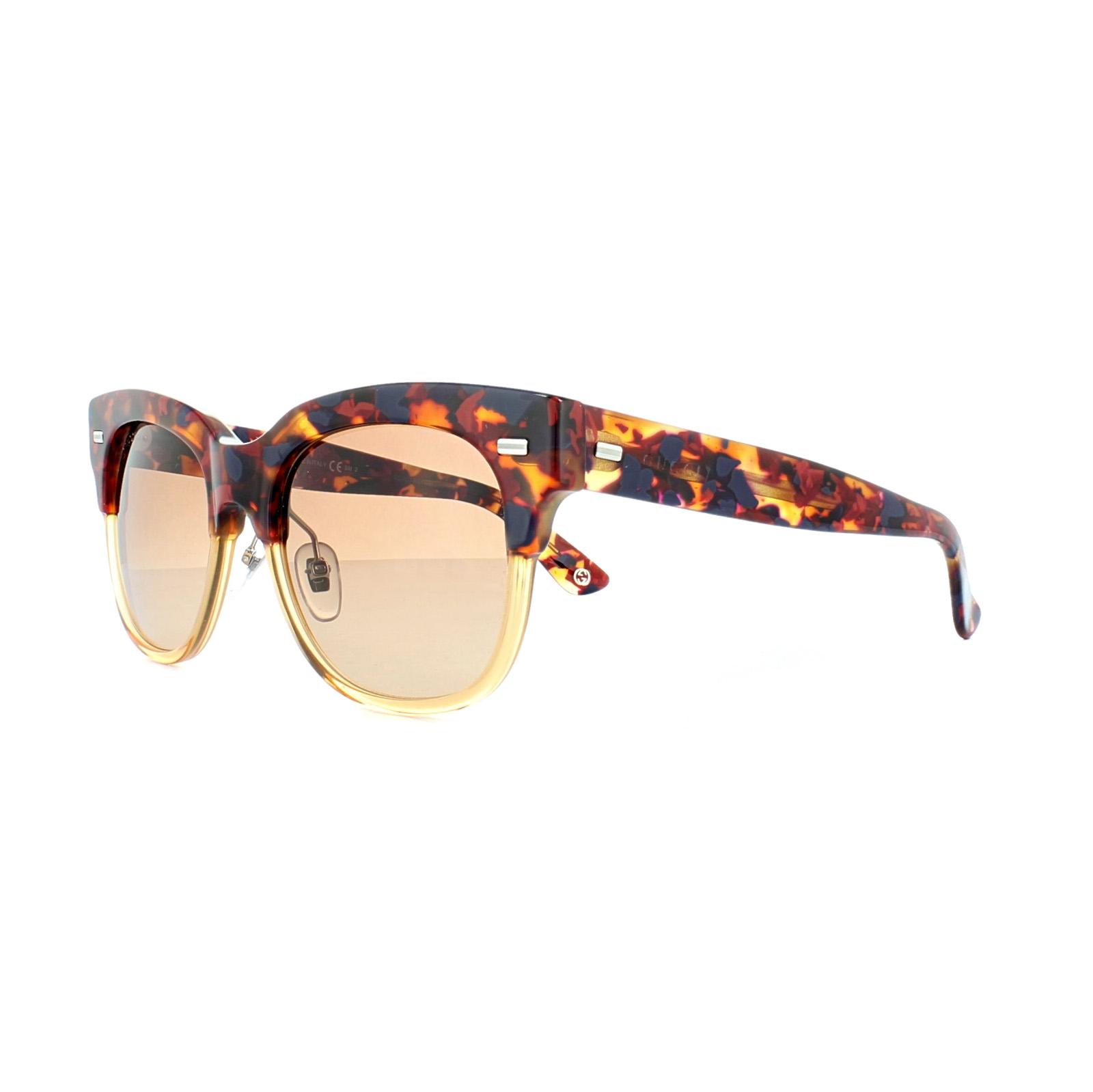 Gucci Gafas de sol 3744 XC4 63 ROJO HAVANA MARRÓN MIEL DEGRADADO | eBay