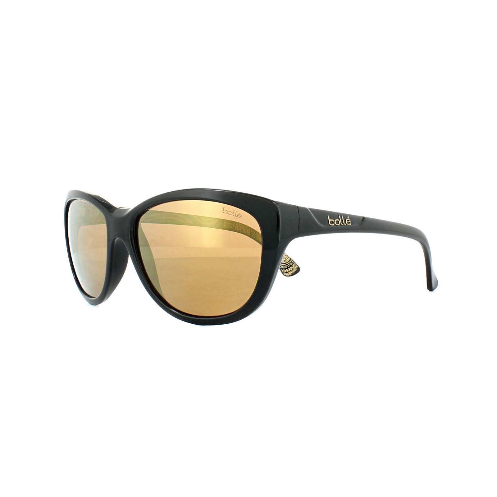 832005456b Sentinel Thumbnail 1. Sentinel Bolle Sunglasses Greta 11952 Shiny Black  AG14 Amber Gold Flash Polarized