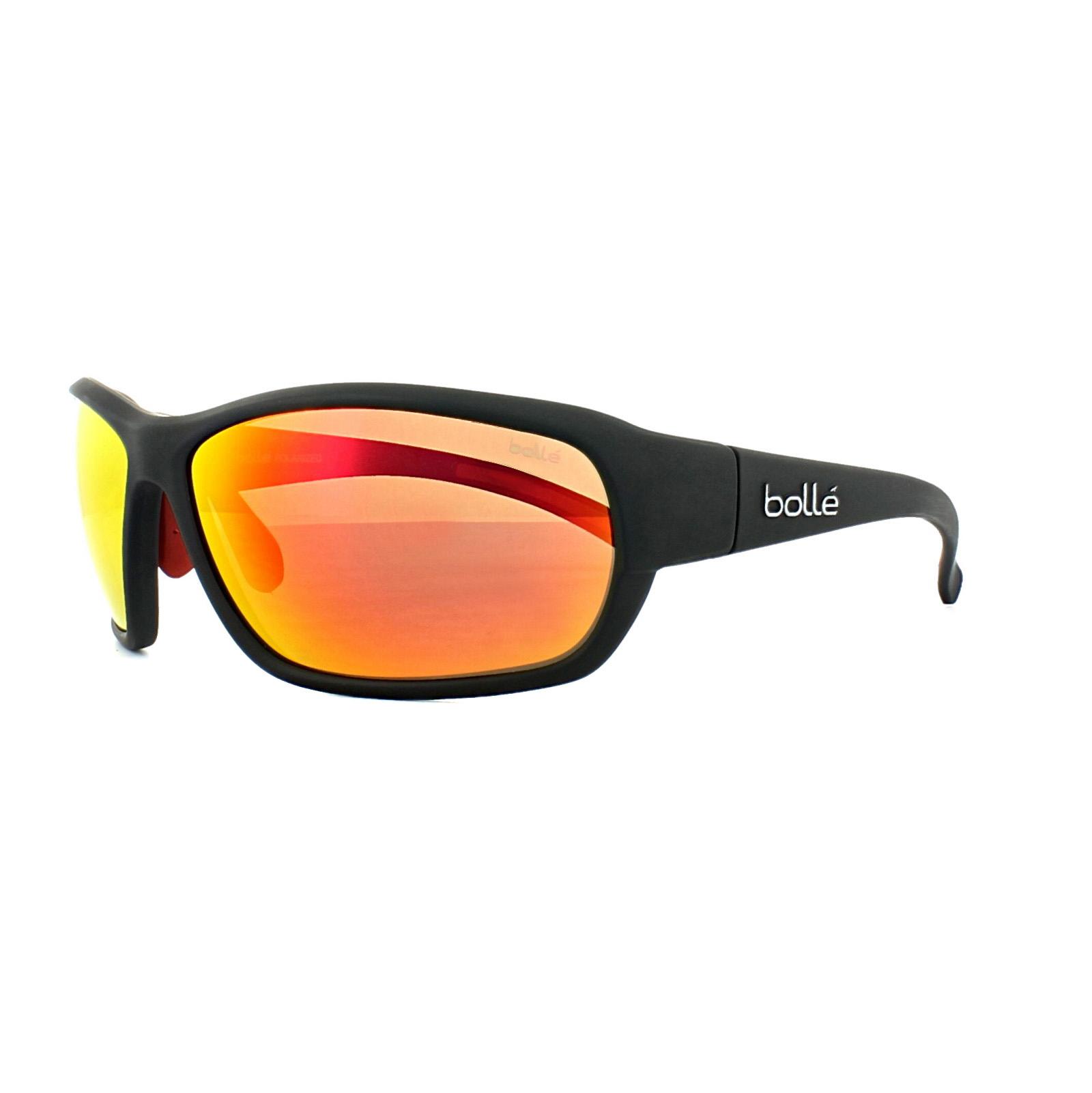f26d8339baede Details about Bolle Sunglasses Bounty 11679 Matt Black TNS Fire Red Mirror  Polarized