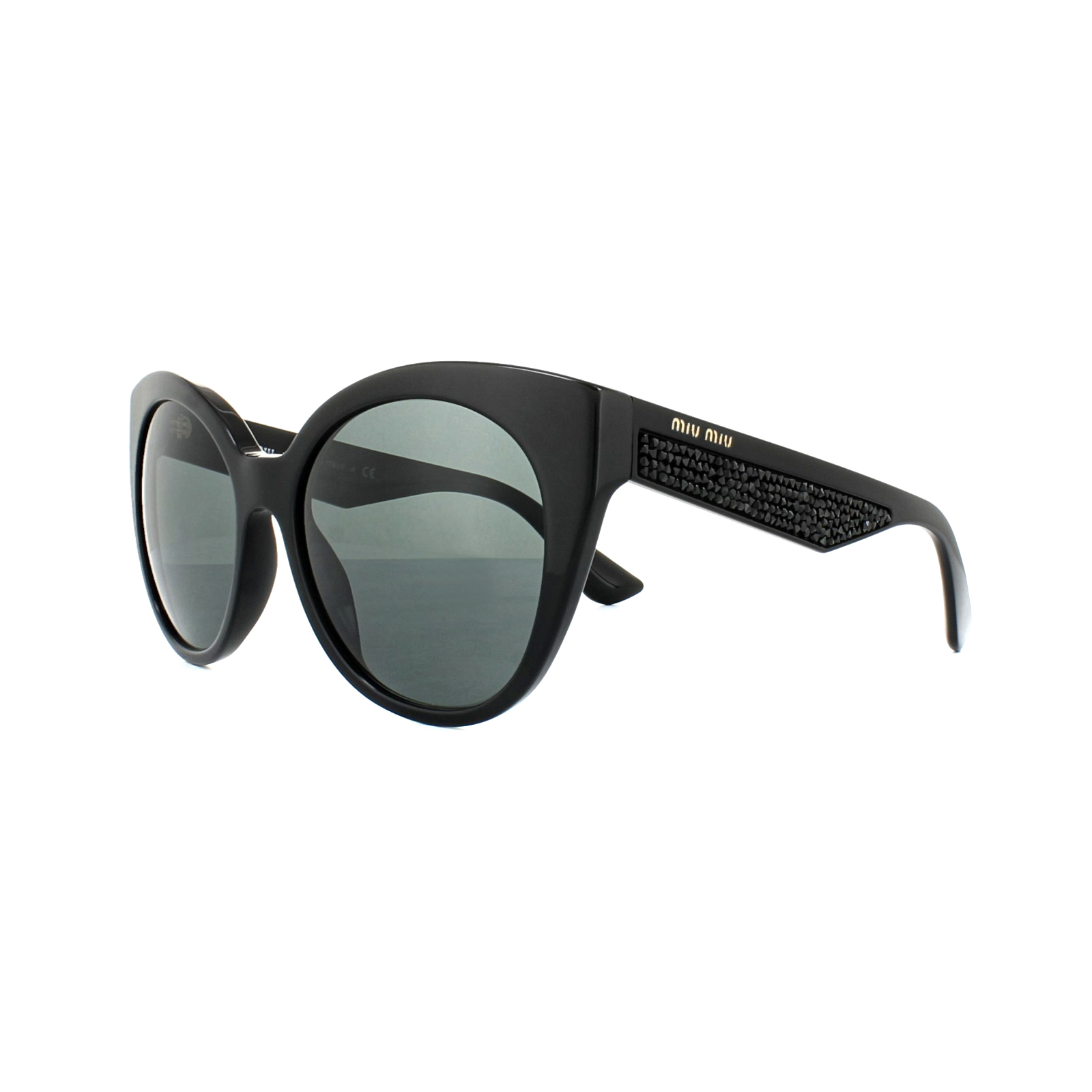 90b3e6974d90 Sentinel Miu Miu Sunglasses 07RS 1AB1A1 Black Grey