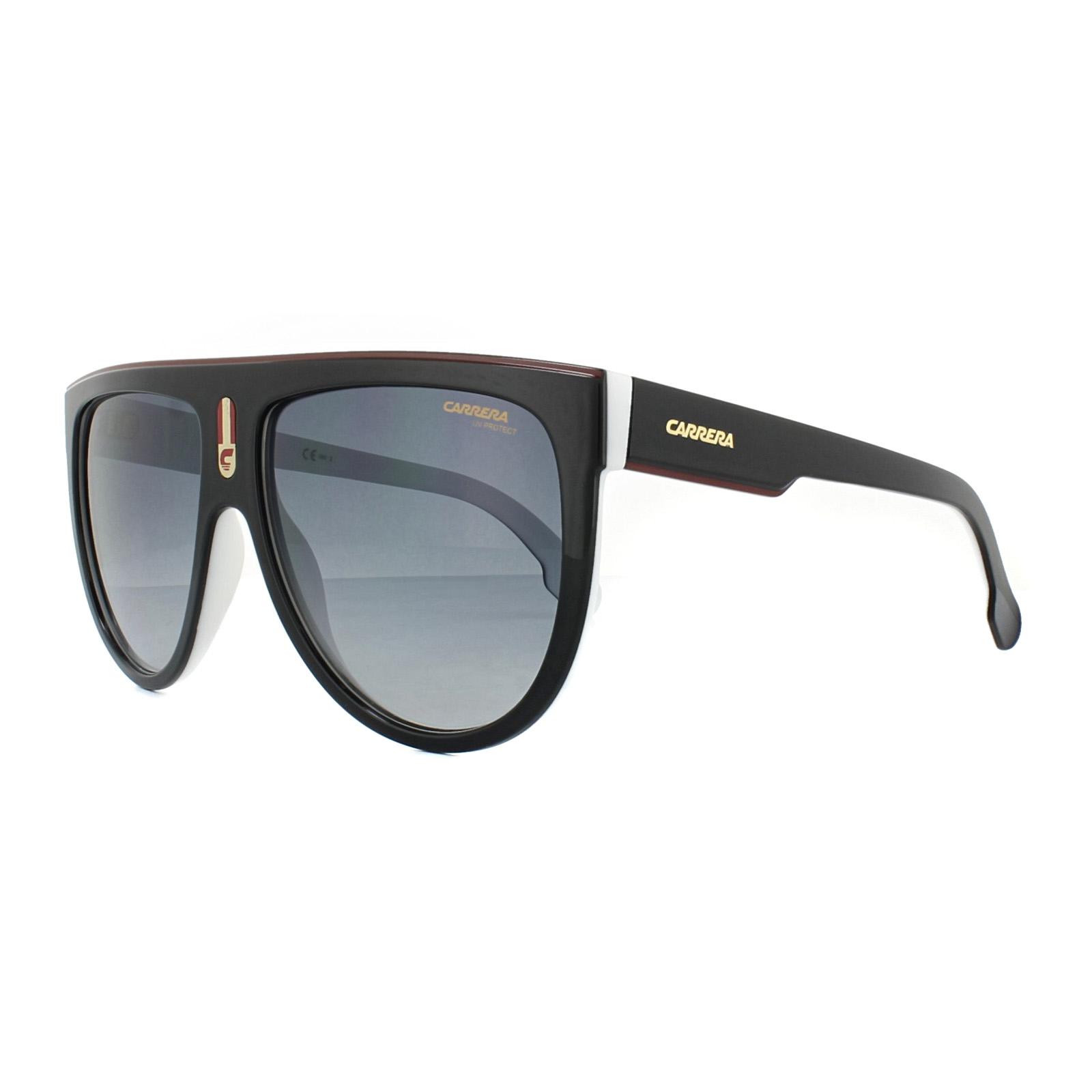 Sentinel Carrera Sunglasses Flagtop 80S 9O Black White Grey Gradient 42cfe827b8bf