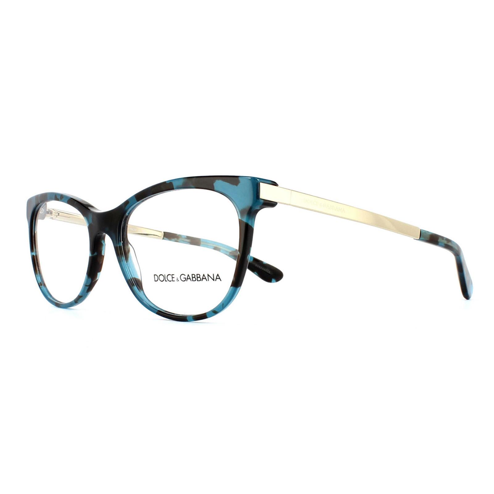 Dolce and Gabbana Glasses Frames 3234 2887 Petrolemu Cube Womens ...