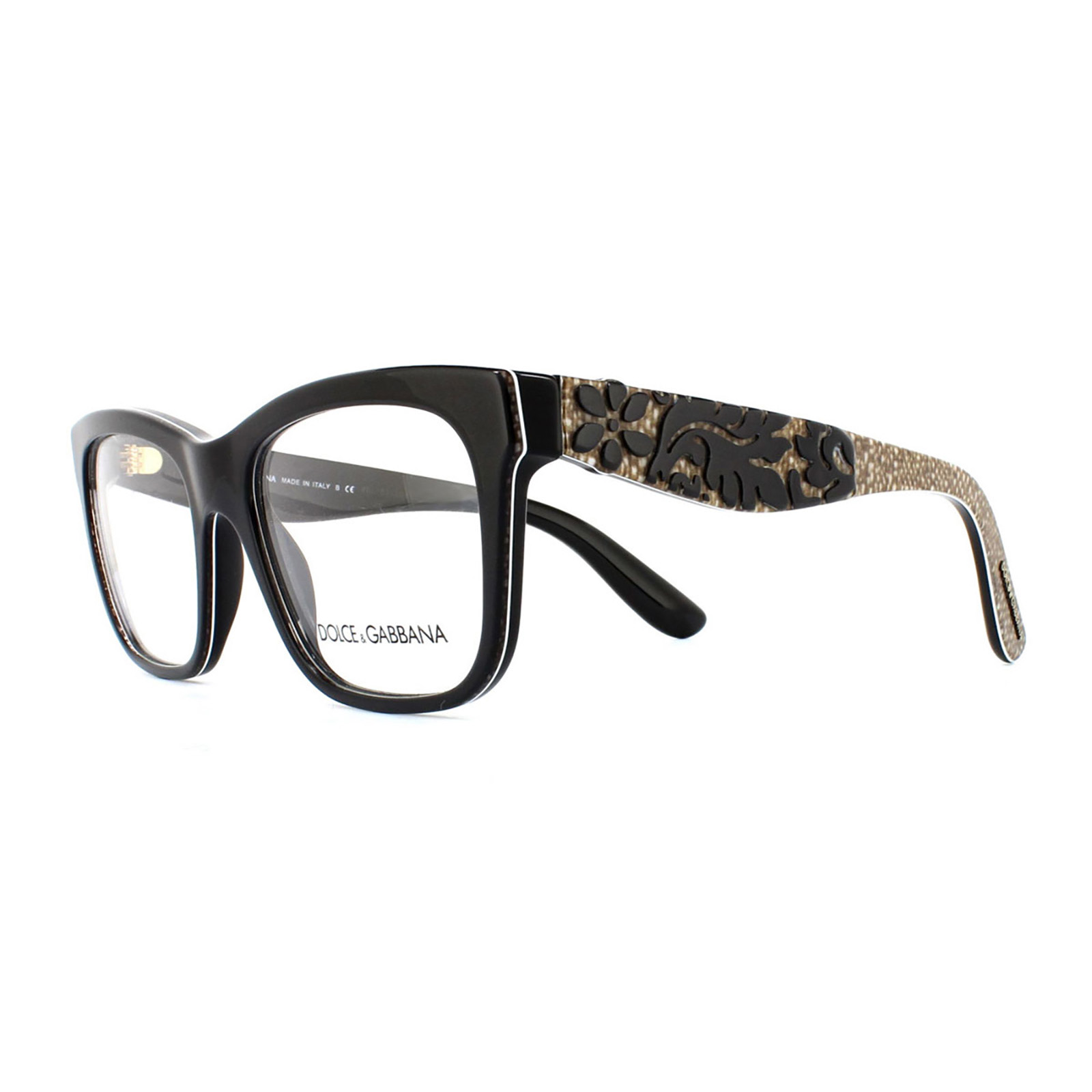 5a7f24da464 Sentinel Dolce and Gabbana Glasses Frames 3239 2998 Top Black Texture  Tissue Womens 52mm