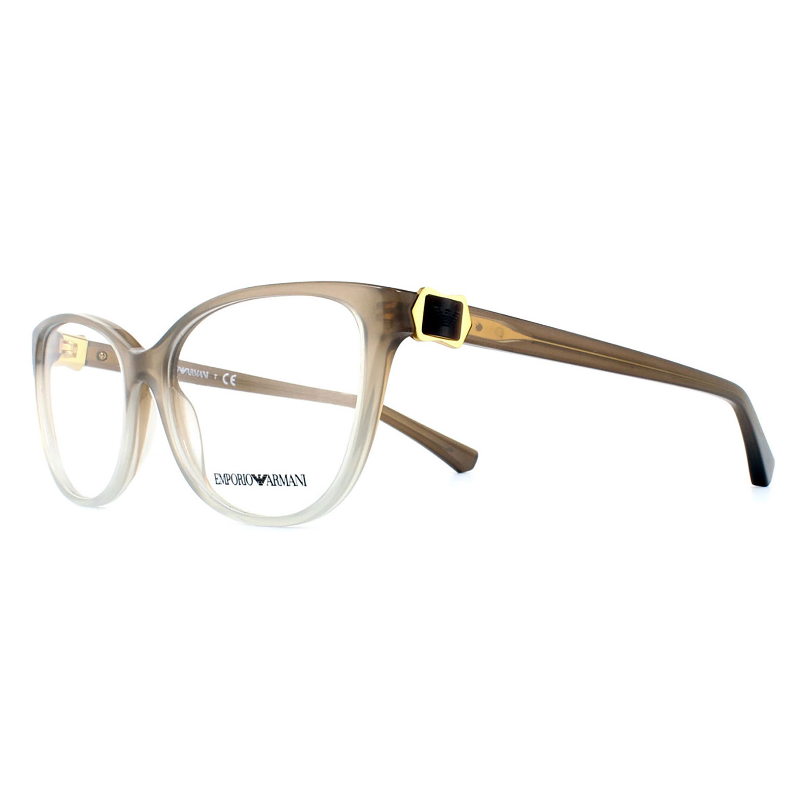 Emporio Armani Glasses Frames 3077 5458 Brown to Crystal Womens 52mm ...