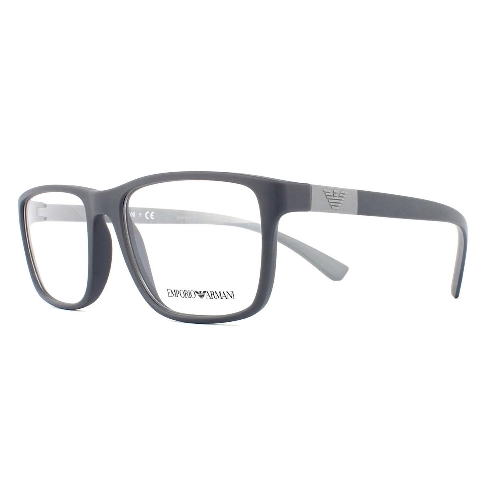 sentinel emporio armani glasses frames 3091 5502 matte grey men 53mm - Emporio Armani Glasses Frames