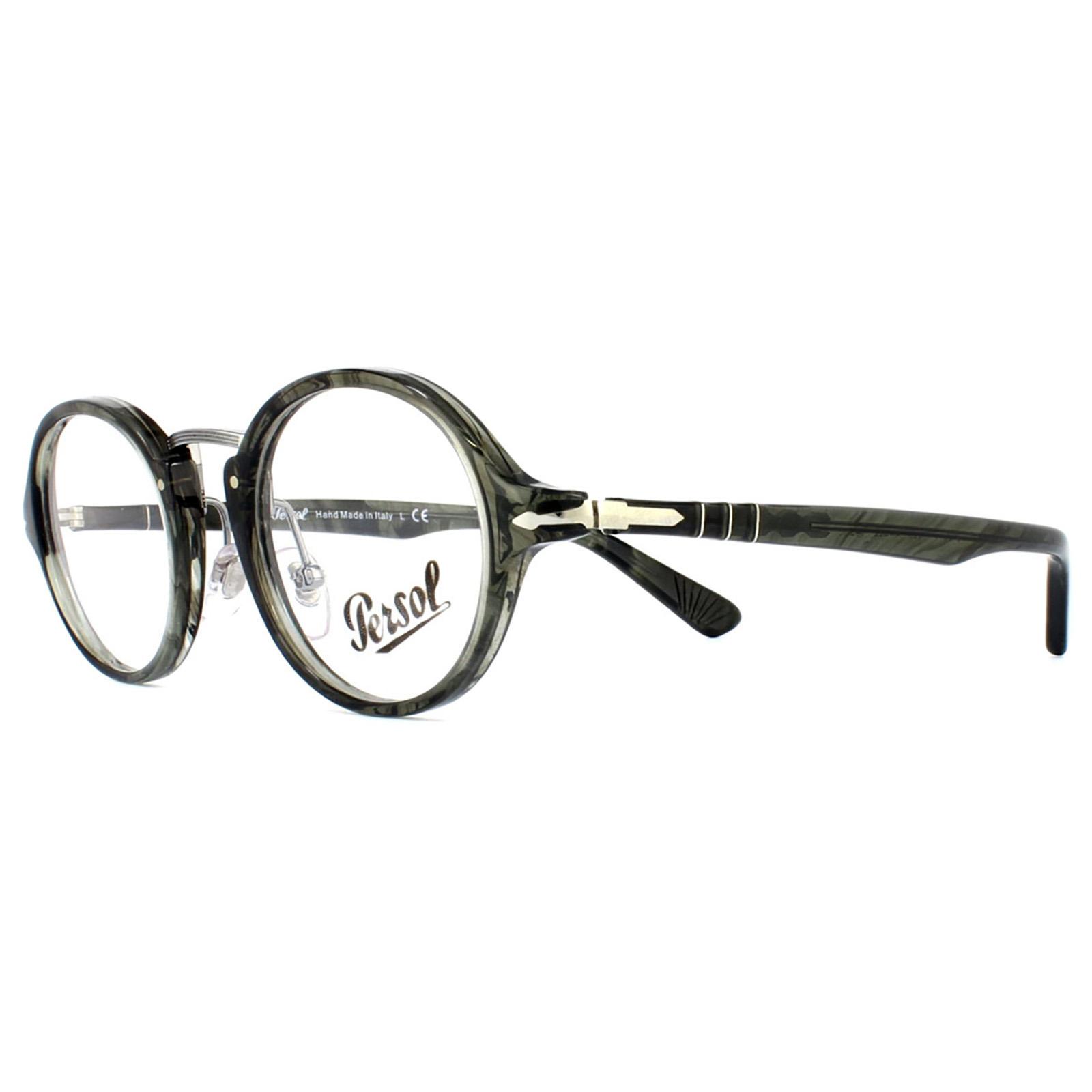 8ae3a3035540 Sentinel Persol Glasses Frames 3128V 1020 Striped Grey Mens Womens 46mm
