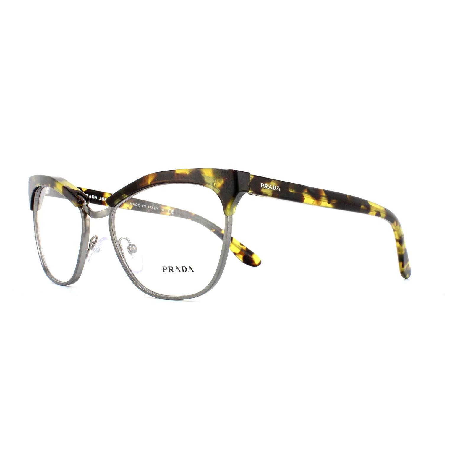 abacf20c213d5 Sentinel Prada Glasses Frames 14SV UBN1O1 Yellow Havana Womens 55mm