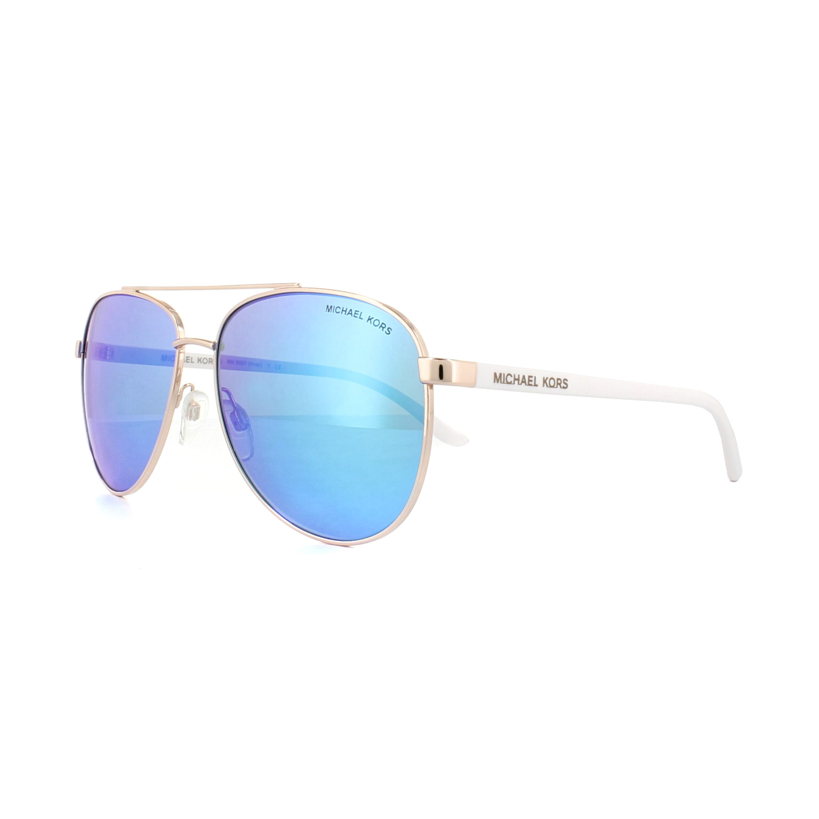 417842fb0cab Sentinel Michael Kors Sunglasses Hvar 5007 104525 Rose Gold White Blue  Mirror