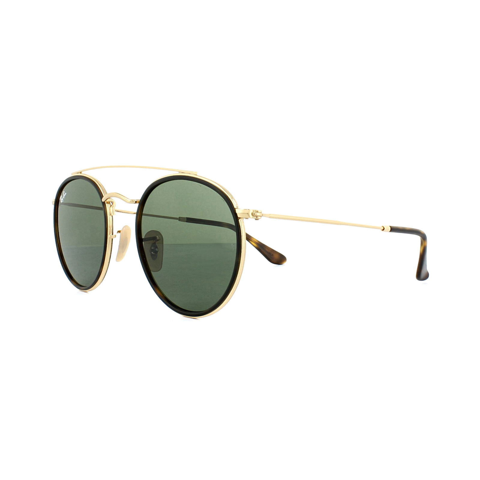 Sentinel Ray-Ban Sunglasses Round Double Bridge 3647N 001 Gold Green 2ce8900c8b