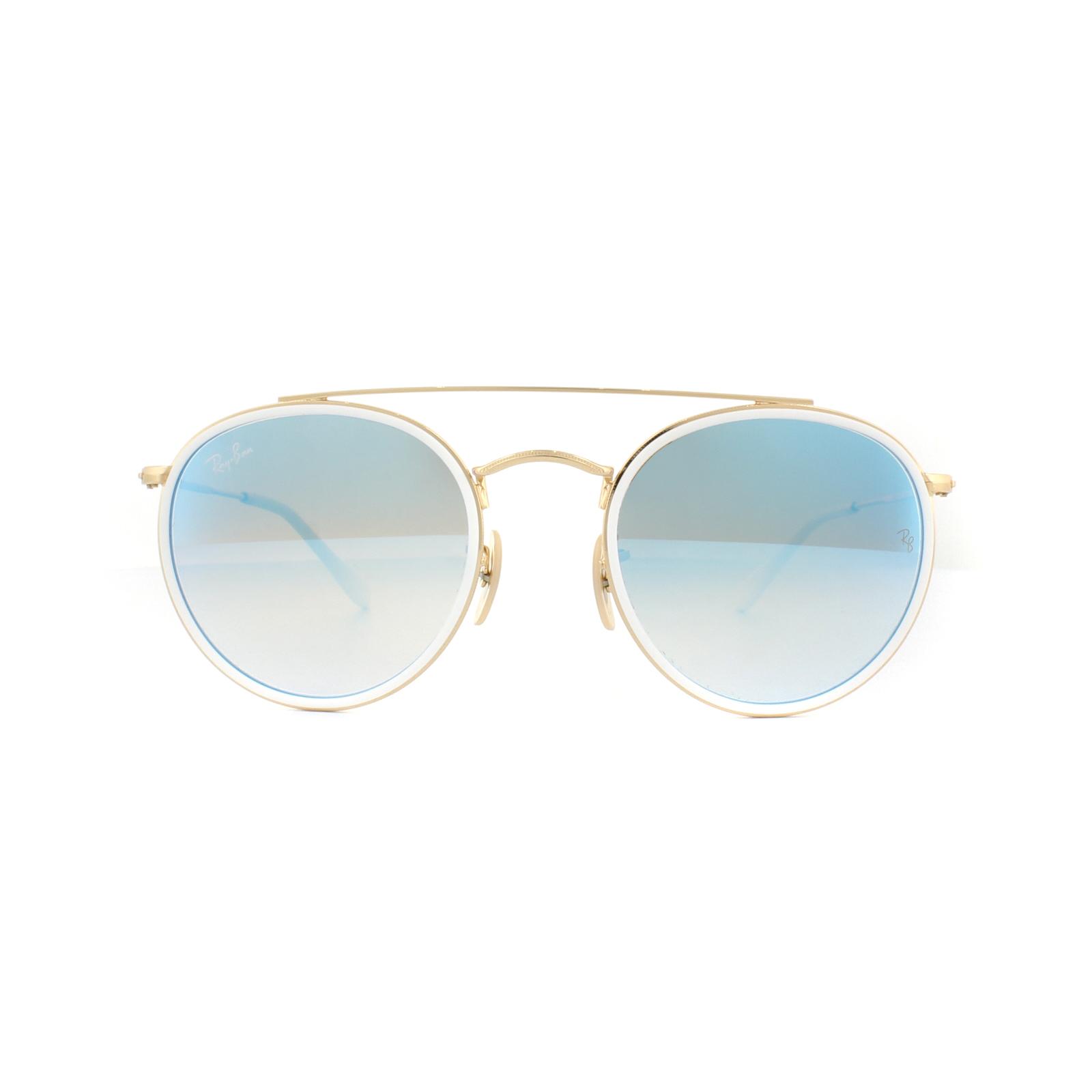 52ae71b1417967 Sentinel Ray-Ban Sunglasses Round Double Bridge 3647N 001 4O Gold Blue  Gradient Mirror
