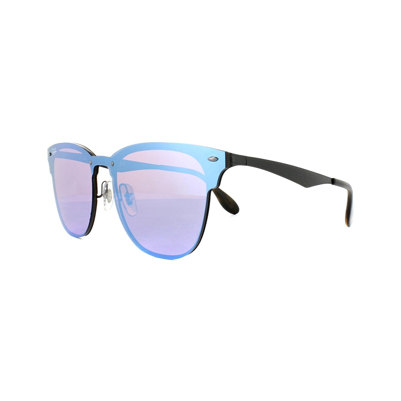 b4c59408413 Sentinel Ray-Ban Sunglasses Blaze Clubmaster 3576N 153 7V Black Dark Violet  Blue Mirror