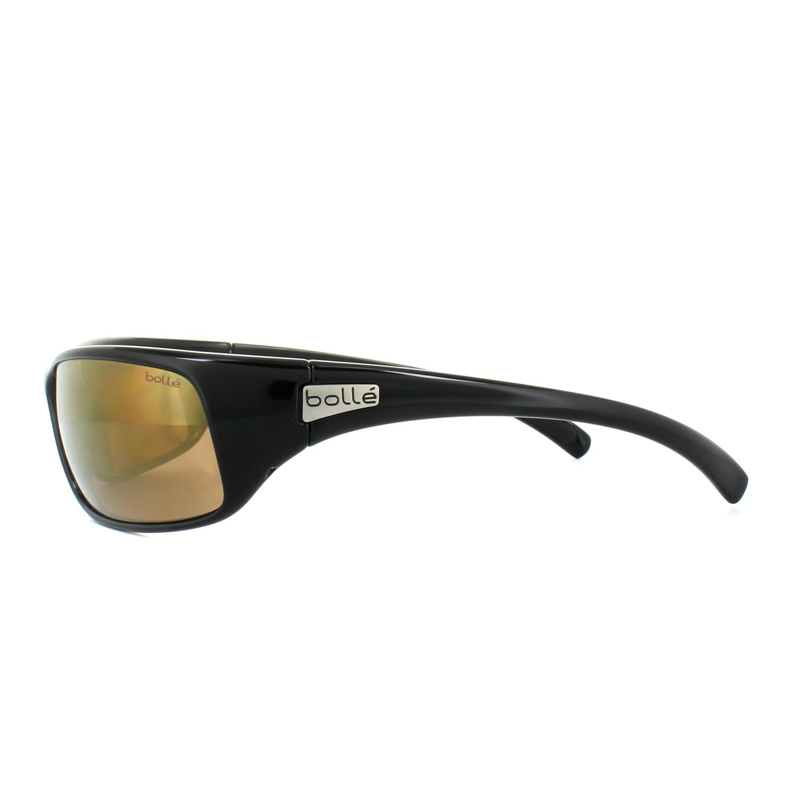 913d75e476 Bolle Sonnenbrille Recoil 11054 Glänzend Schwarz Inland Gold Polarisiert