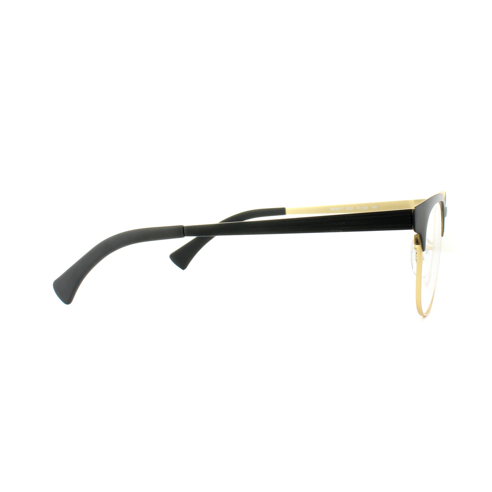 e7ab241cfef Sentinel Ray-Ban Glasses Frames 6317 2833 Top Black on Matte Gold Mens  Womens 51mm